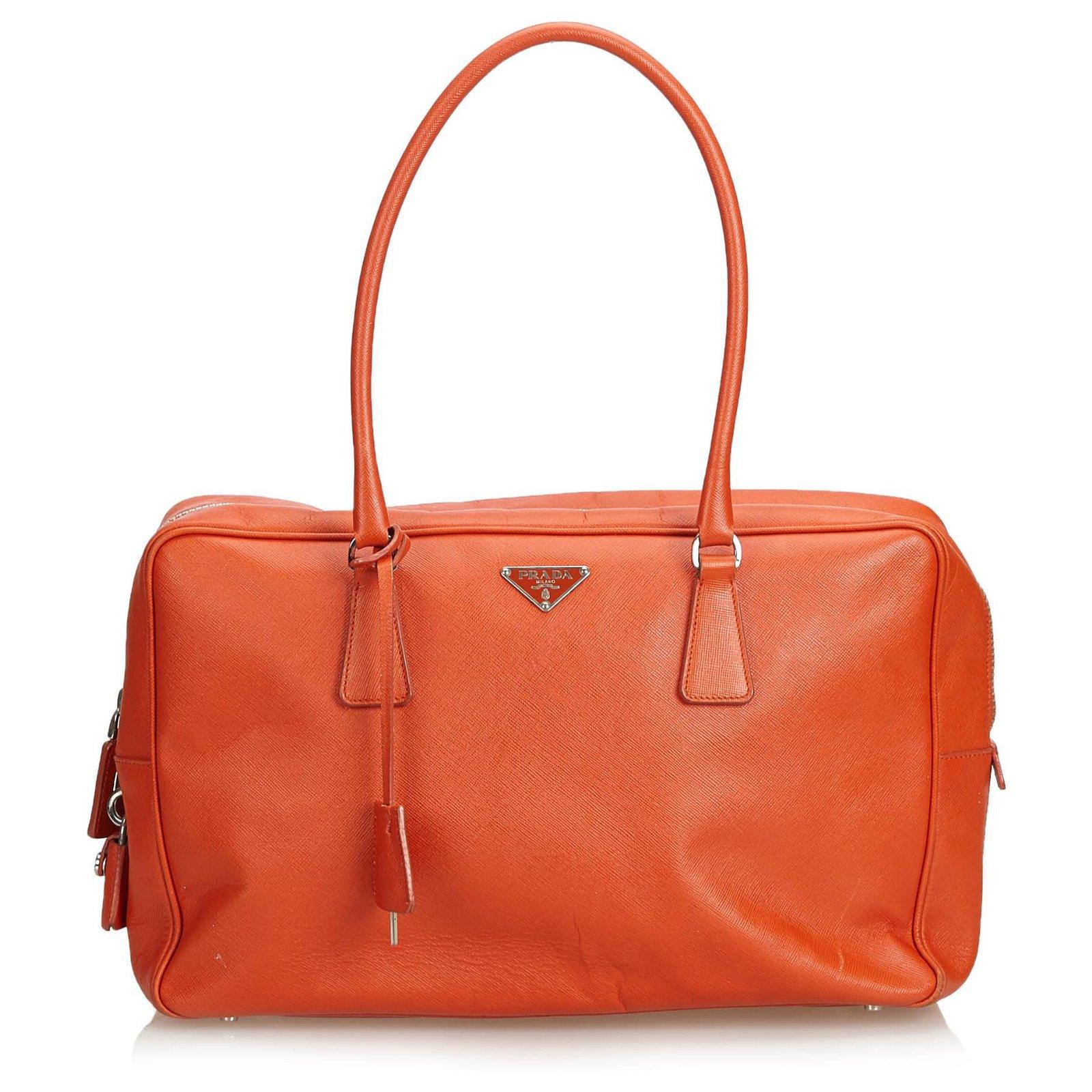 acheter populaire 24a6b 9626e Sac à main Bauletto en cuir orange saffiano Prada