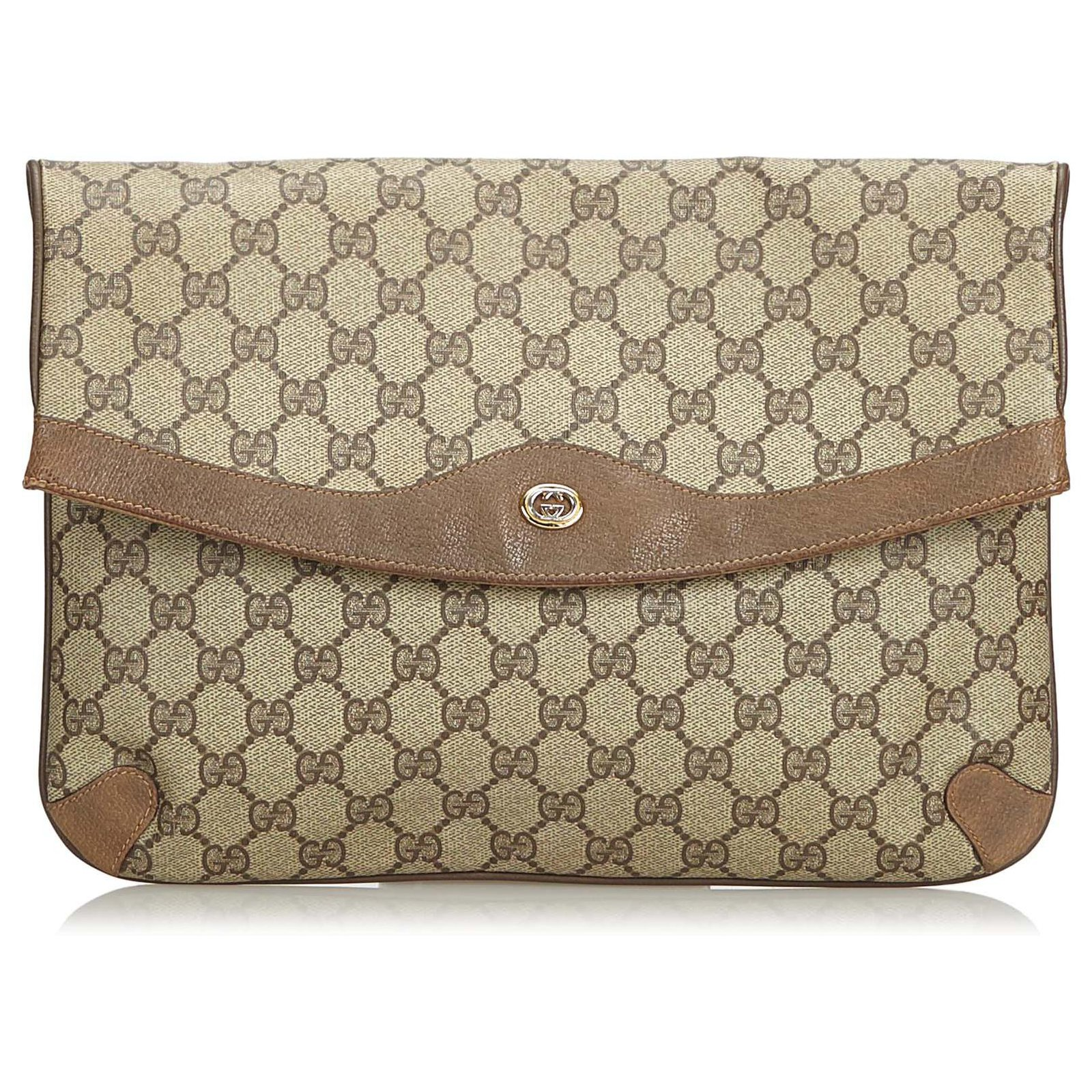a4cf6aec6 Gucci Gucci Brown GG Clutch Bag Clutch bags Leather,Other,Plastic  Brown,Beige