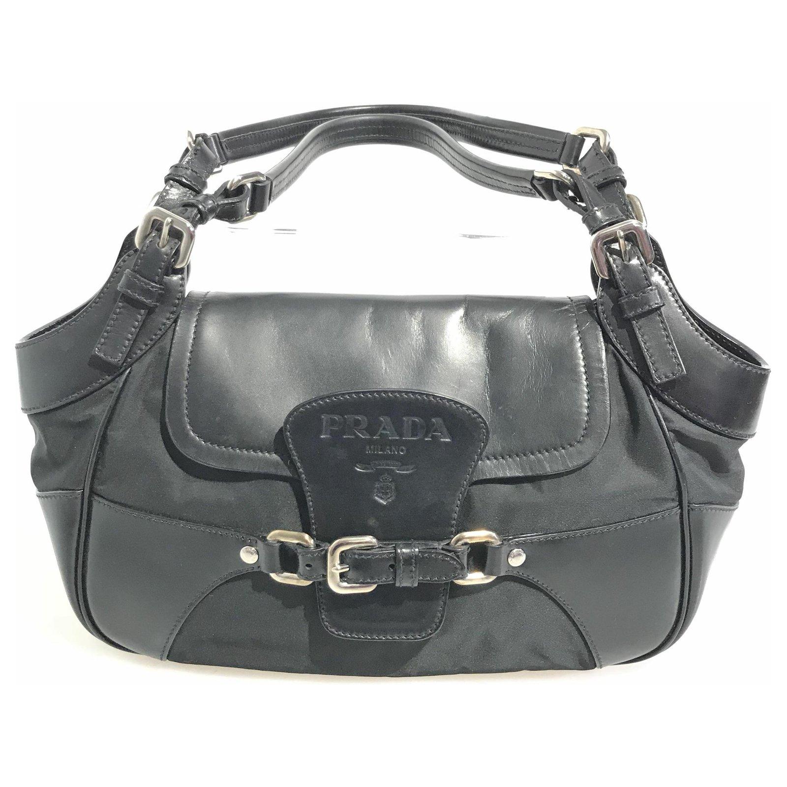 cb888bd84a89 Prada Prada Black Tessuto Shoulder Bag Handbags Leather,Other,Nylon,Cloth  Black ref