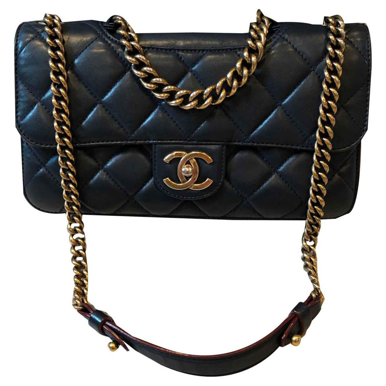 ef2a631ab29b Chanel Classic CHANEL Handbags Leather Blue,Navy blue,Dark blue ref.120320