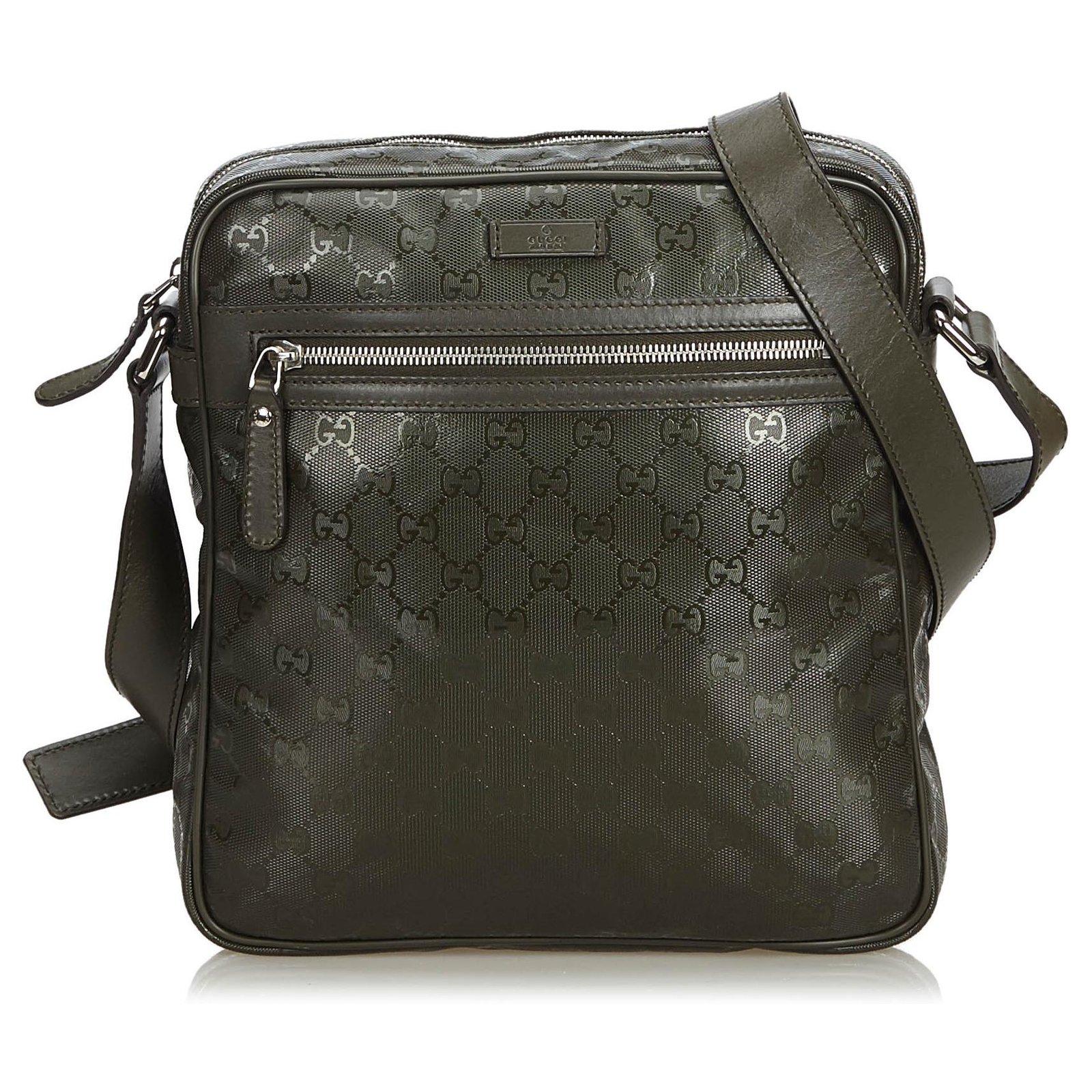 94f17fa16d06 Gucci Gucci Black GG Imprime Crossbody Bag Handbags Leather,Other,Plastic  Black ref.