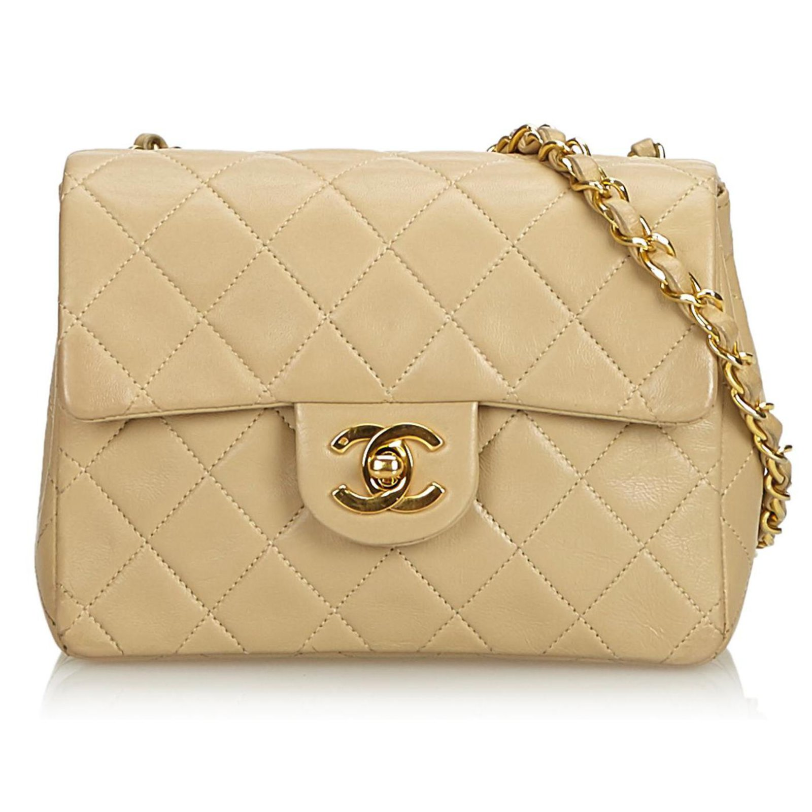 1020b7941e83 Chanel Chanel Brown Classic Mini Square Lambskin Leather Single Flap Bag  Handbags Leather Brown,Beige