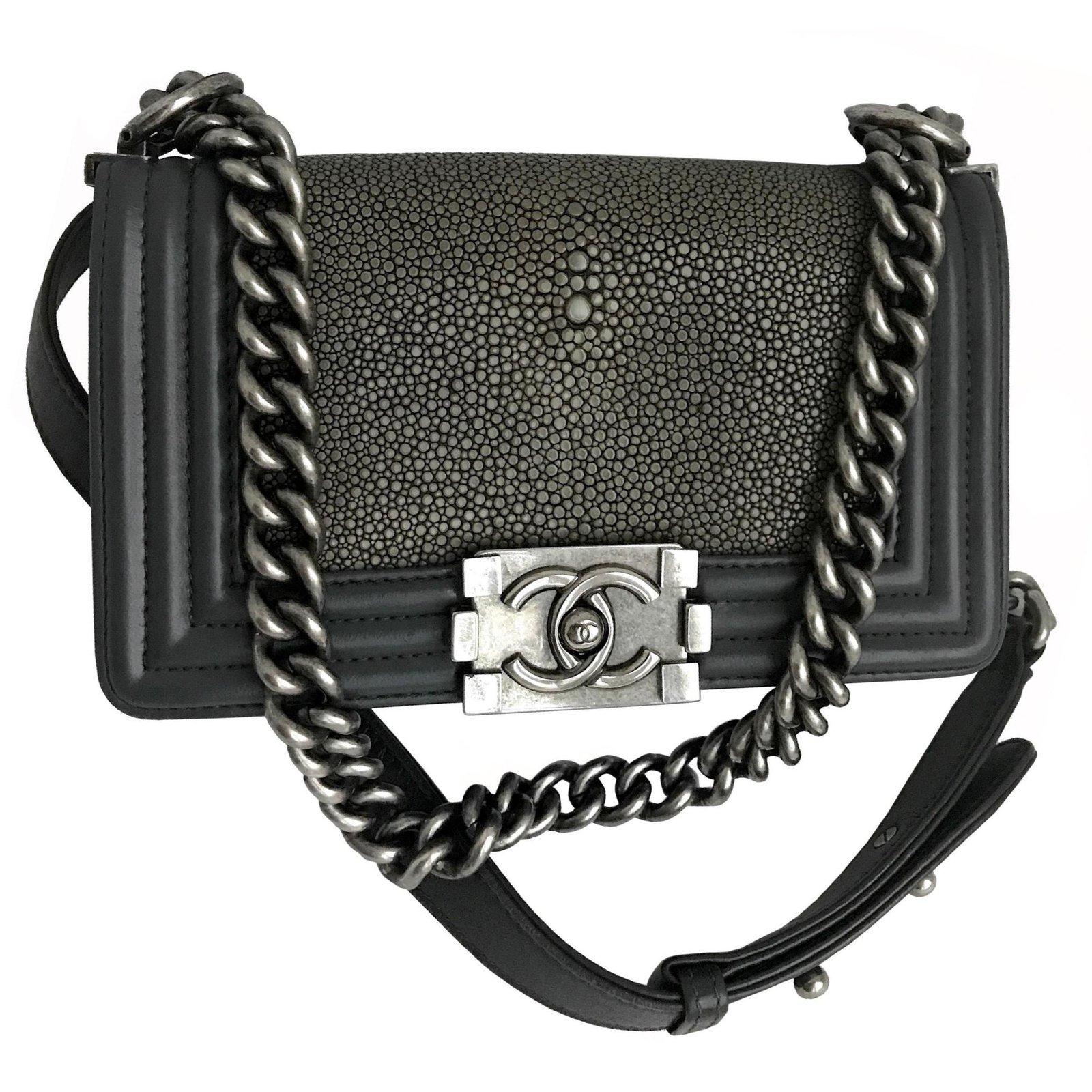 3ee644f85575 Chanel Stingray Boy Small Flap Bag Limited edition Handbags Leather,Exotic  leather Grey,Dark