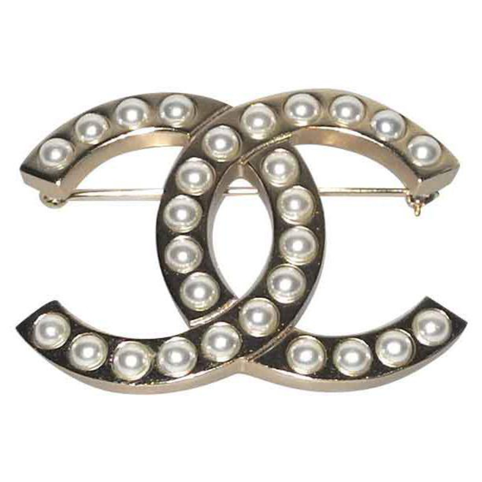 Chanel brooch gold metal and pearls, Collection 2018 superb