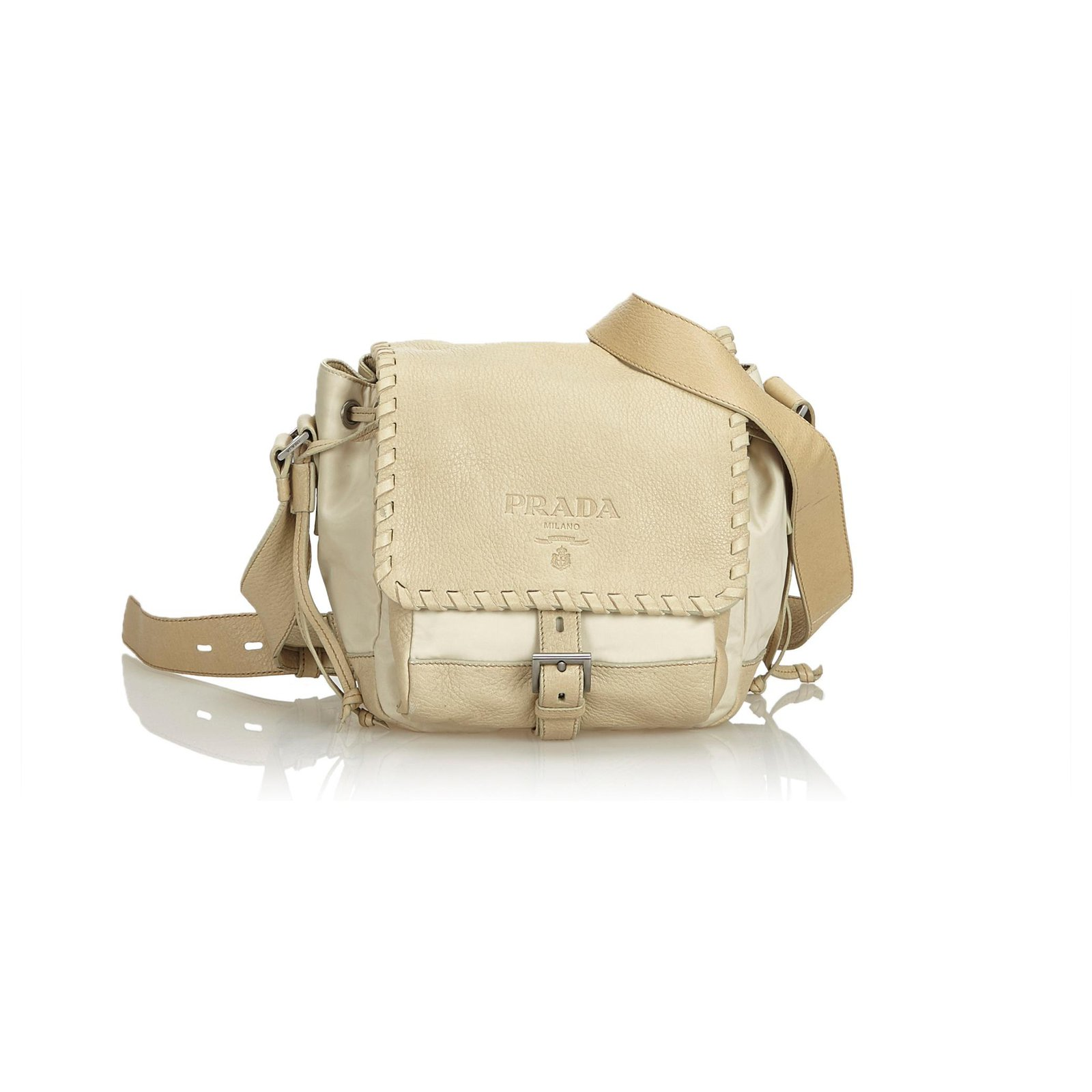 2c9e57c8e4e5 Prada Prada White Nylon Crossbody Bag Handbags Leather,Other,Nylon,Cloth  Brown,