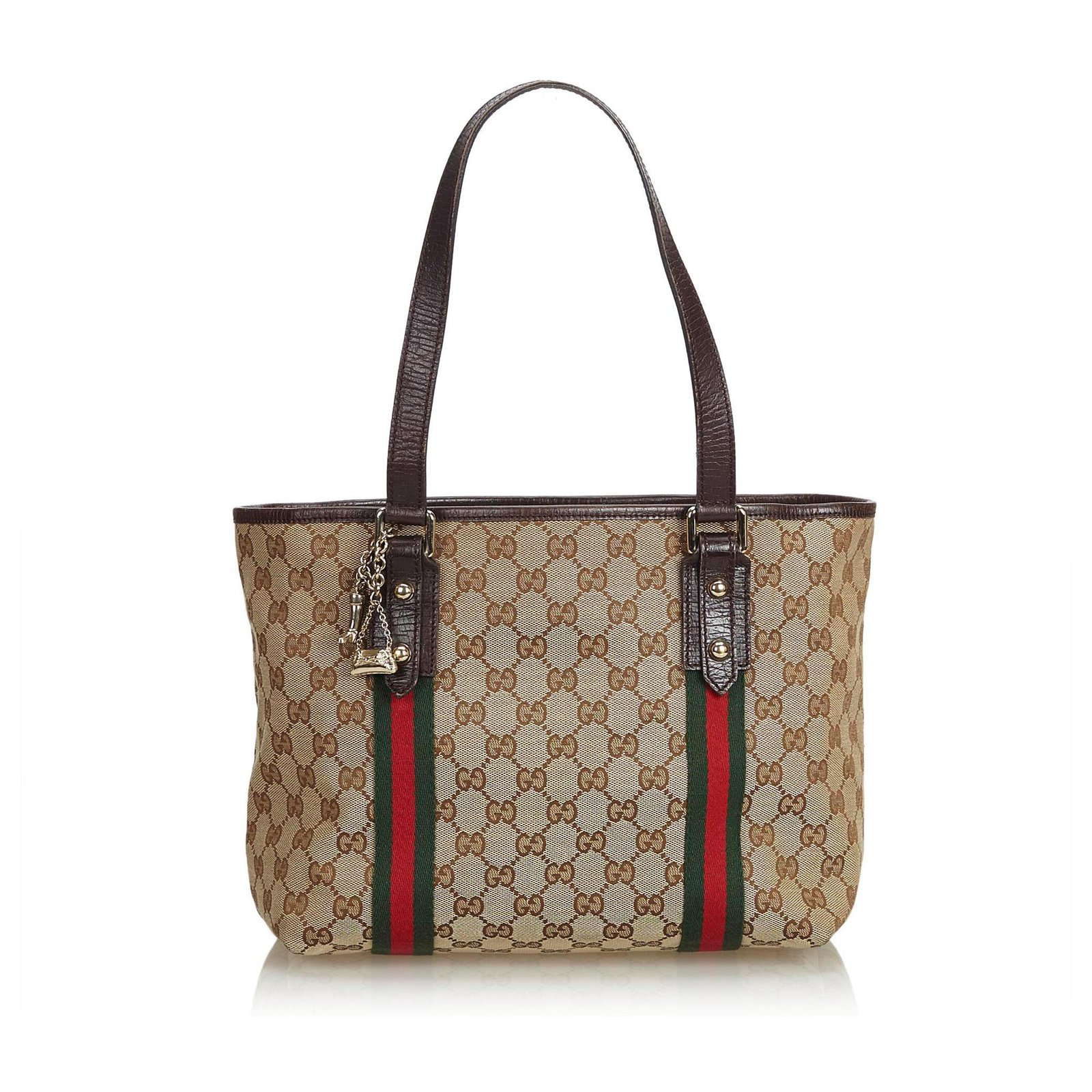 c27da1a09ee87d Gucci Gucci Brown GG Jacquard Jolicoeur Tote Bag Totes Leather,Other,Cloth  Brown,