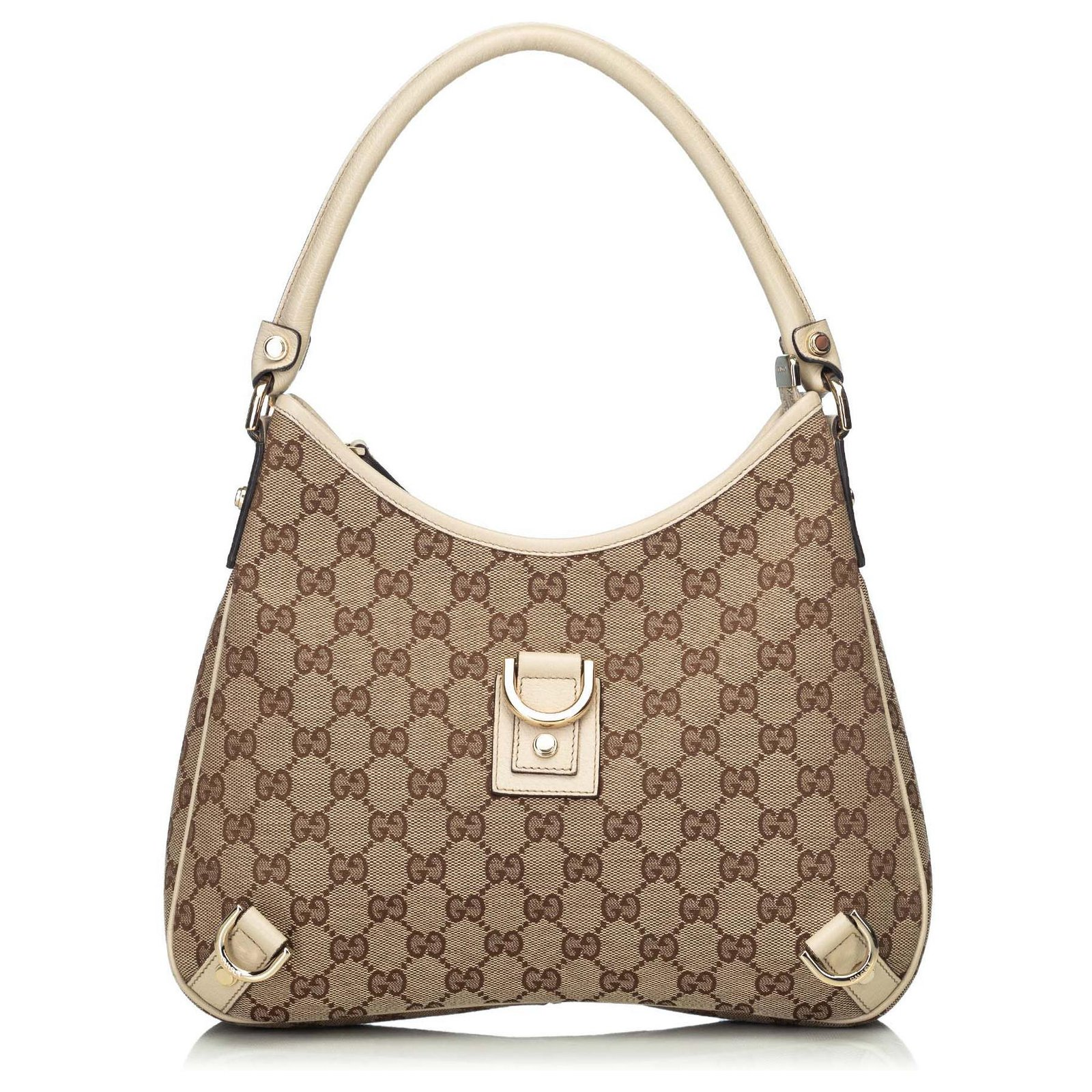 e969843fc27bf9 Gucci Gucci Brown GG Jacquard Abbey Hobo Bag Handbags Leather,Other,Cloth  Brown,