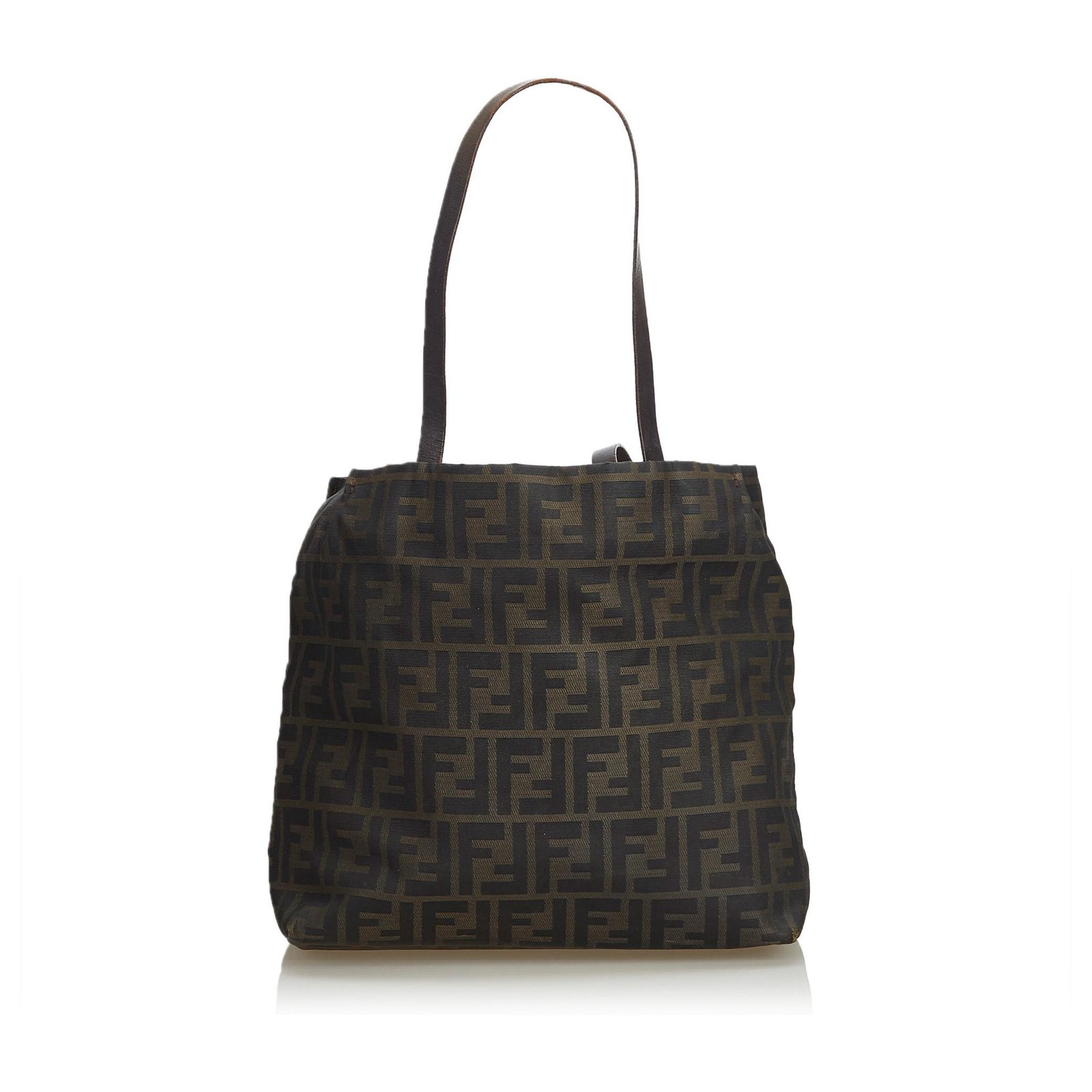 7a78235936d Fendi Fendi Brown Zucca Coated Canvas Tote Bag Totes Leather