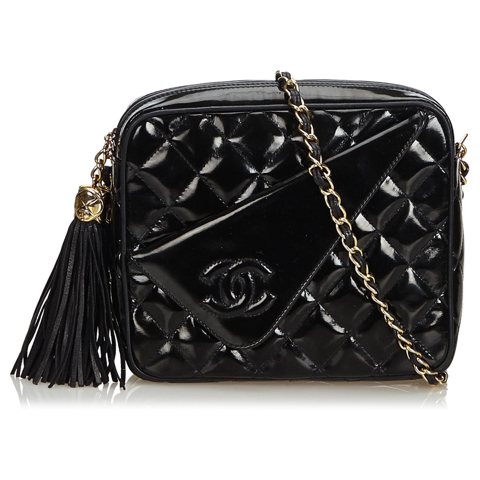 938e9bac43e5 Chanel Chanel Black Patent Leather Quilted Chain Camera Bag Handbags Leather ,Patent leather Black ref