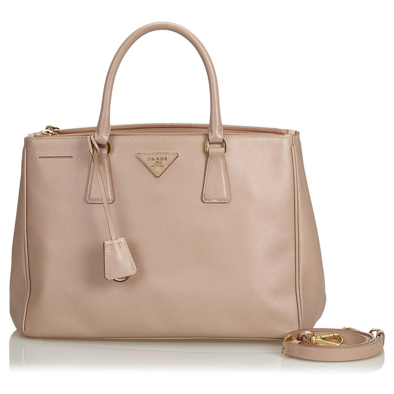 6ef6c4ed58b1 Prada Prada Brown Saffiano Lux lined Zip Galleria Satchel Handbags  Leather