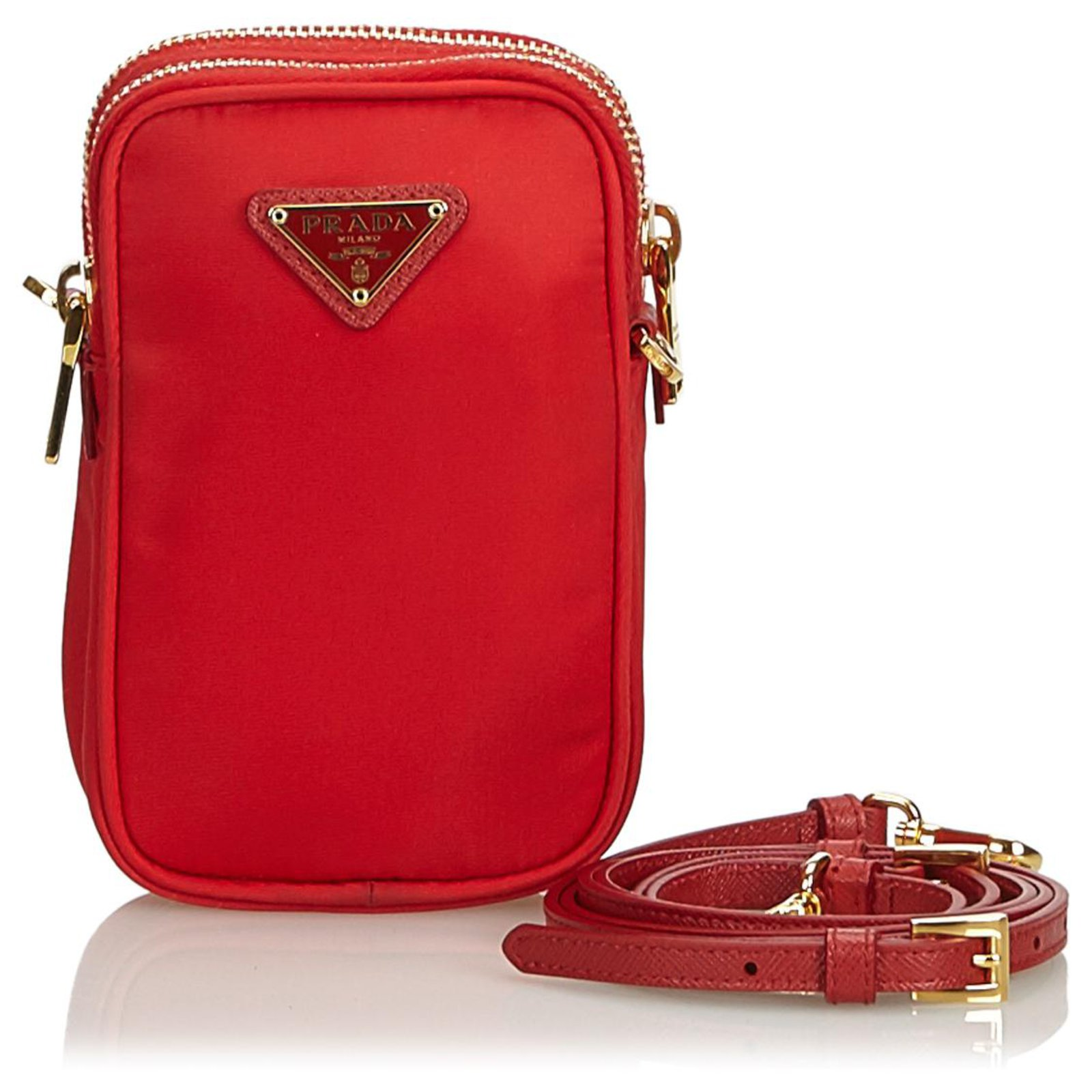9bceca6a2901 Prada Prada Red Mini Nylon Crossbody Handbags Nylon,Cloth Red ref.122283