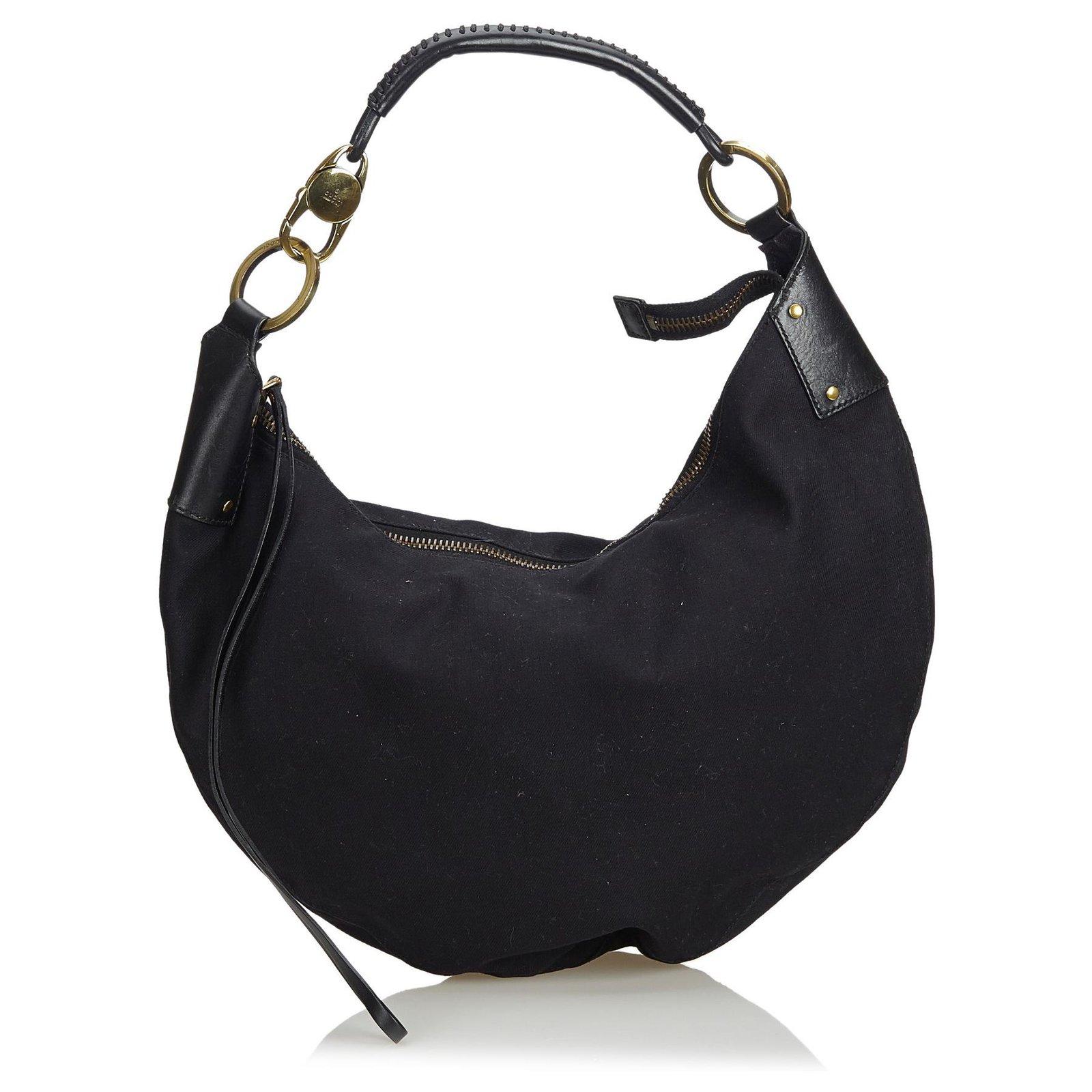 4acc455b9365b Gucci Gucci Black Cotton Half Moon Hobo Bag Handbags Leather