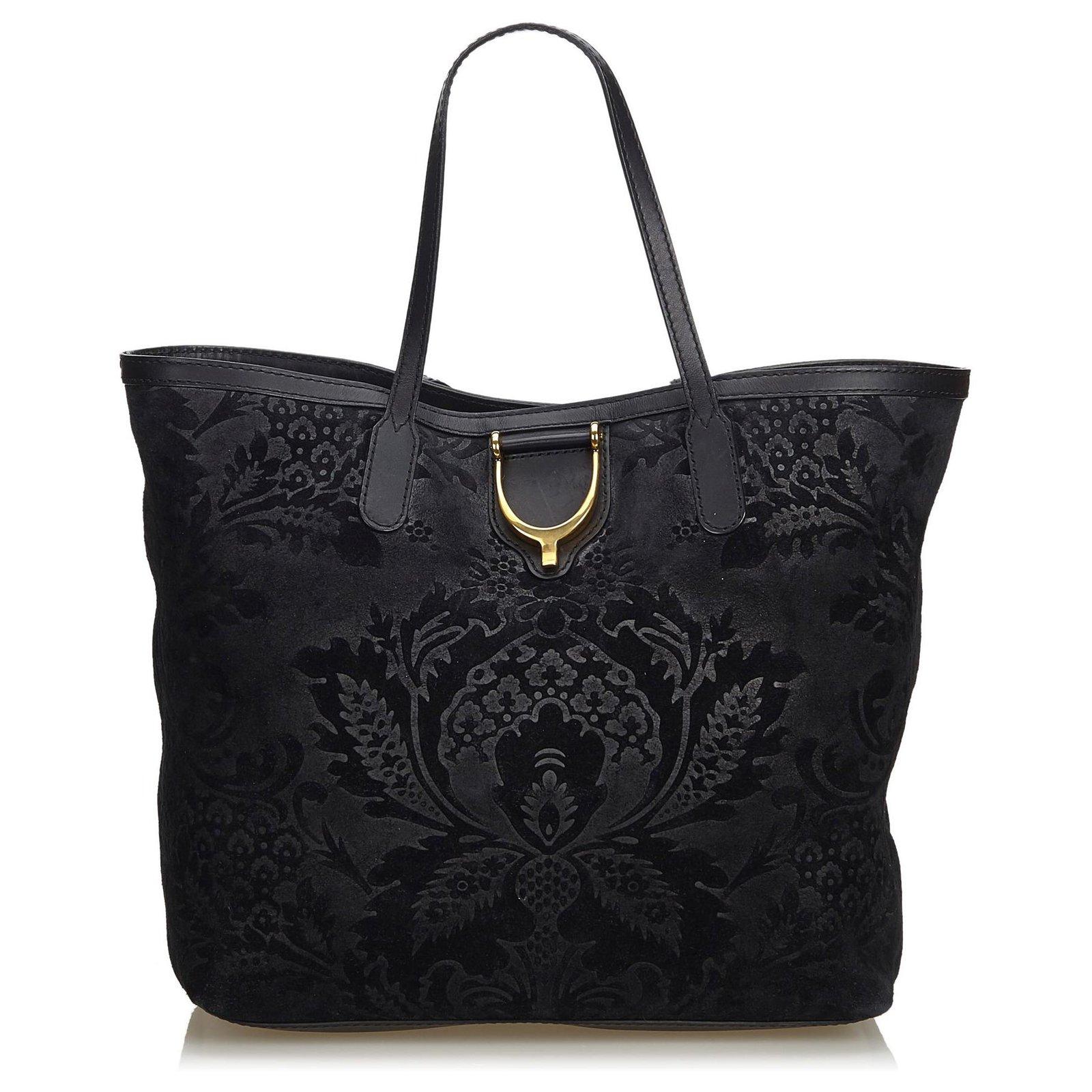 ac5218f54 Gucci Gucci Black Suede Brocade Stirrup Tote Bag Totes Suede,Leather Black  ref.122883