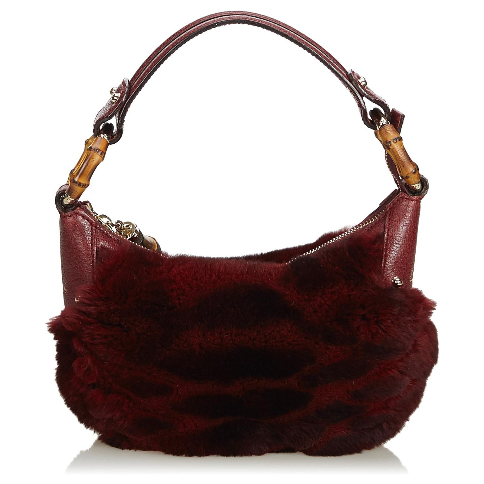 65b881ebee68ed Gucci Gucci Red Fur Bamboo Ring Hobo Bag Handbags Leather,Other,Fur Red ref