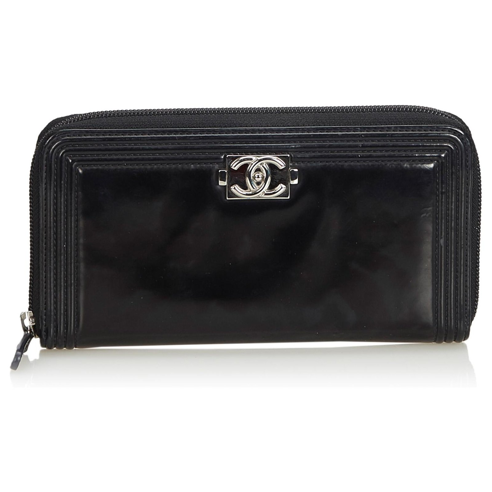 1dbcd2db02e9 Chanel Chanel Black Patent Leather Boy Long Wallet Purses, wallets, cases  Leather,Patent