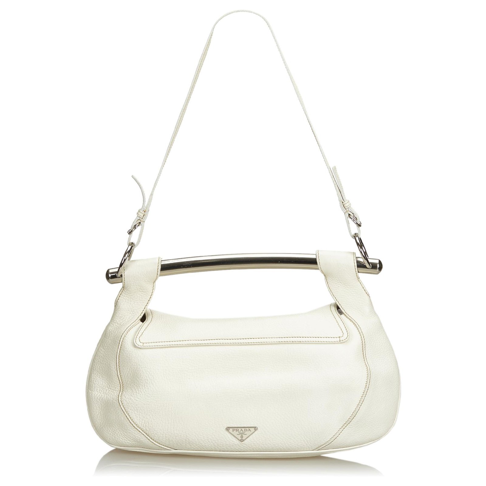 54fc093c7000 Prada Prada White Leather Bar Shoulder Bag Handbags Leather