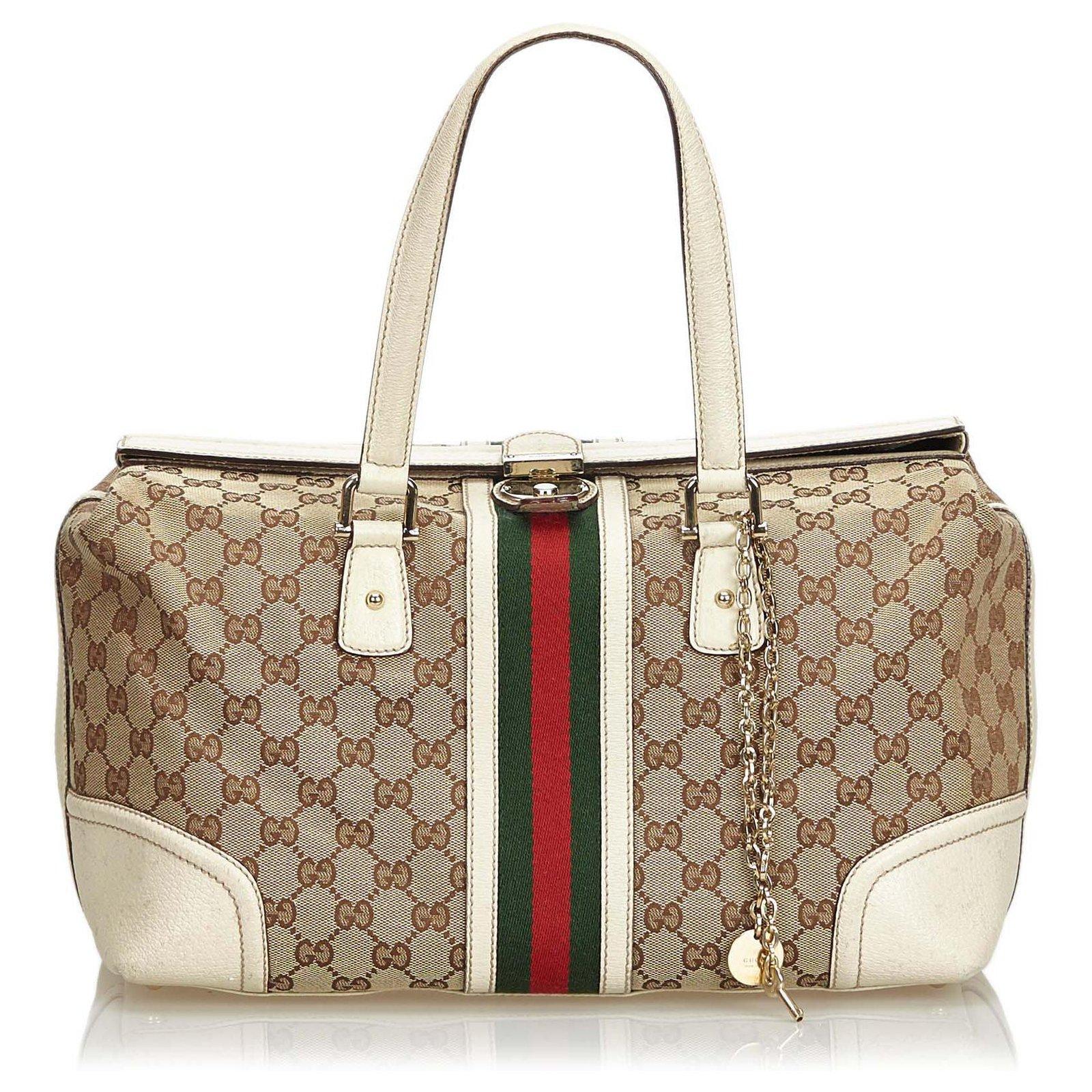 f5930964ede Gucci Gucci Brown Large GG Jacquard Web Treasure Handbag Handbags Leather