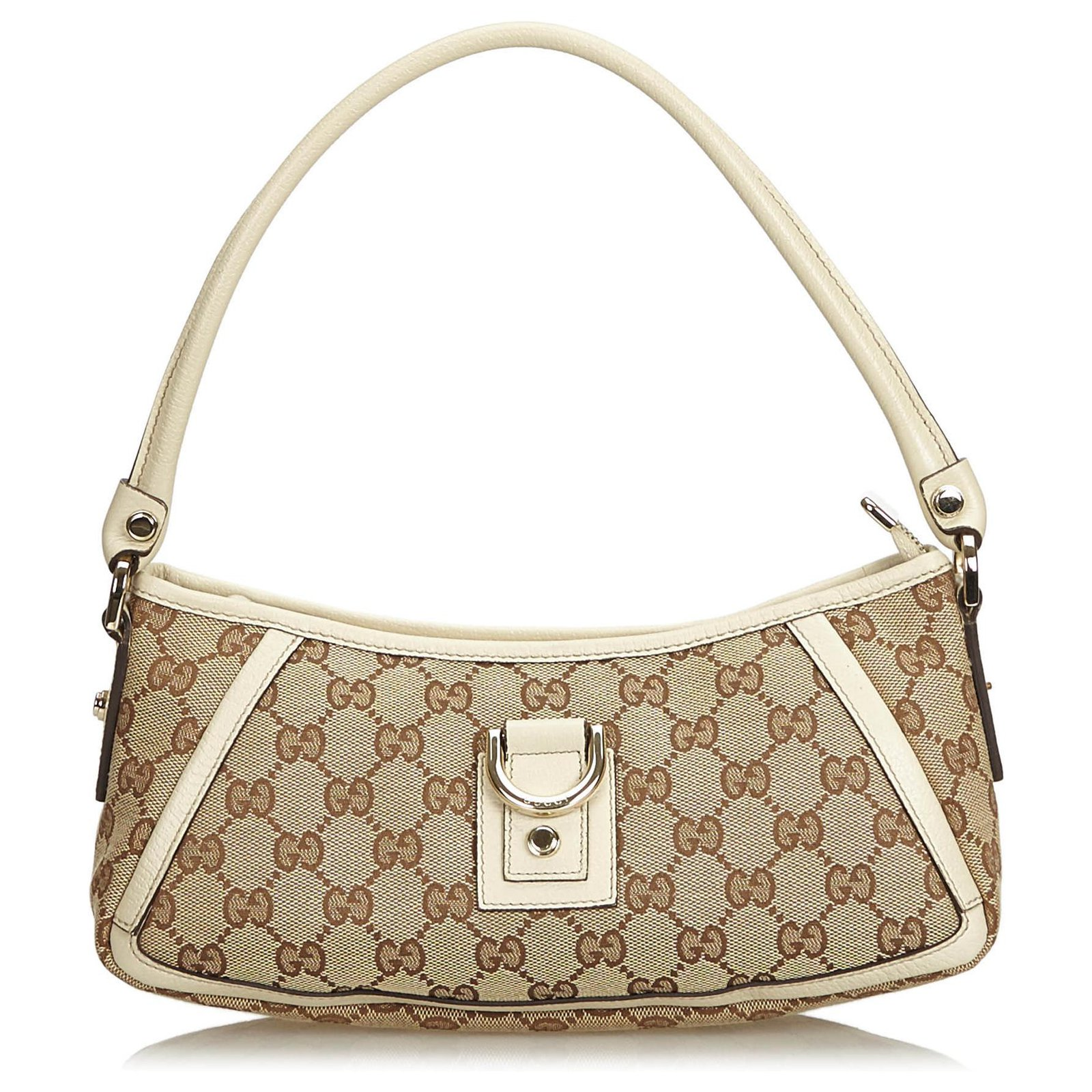 51b1092da46 Gucci Gucci Brown GG Jacquard D-Ring Abbey Baguette Handbags Leather ...