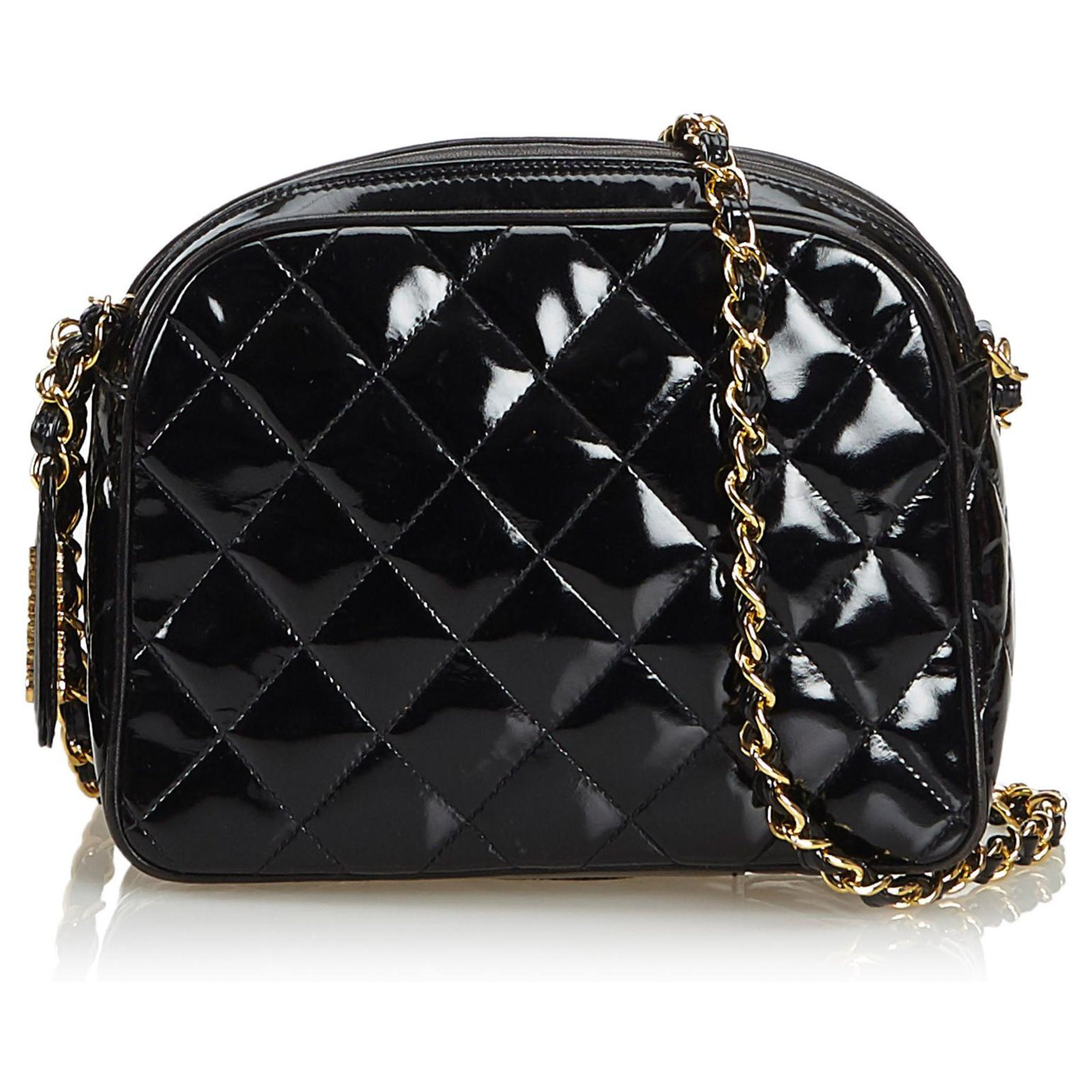 Chanel Black Patent Leather Quilted Chain Crossbody