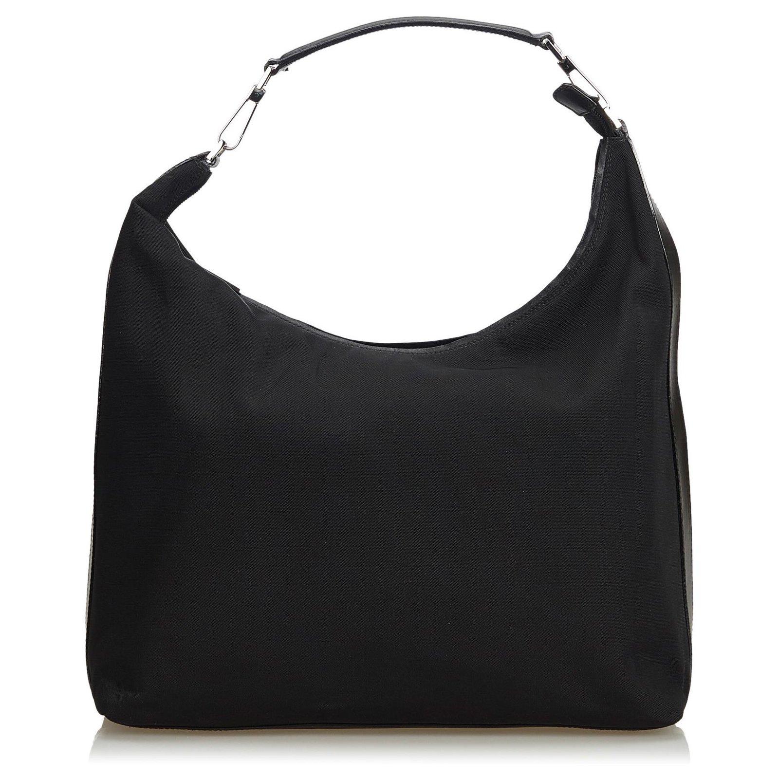 Gucci Black Nylon Hobo Bag Handbags Leather Other