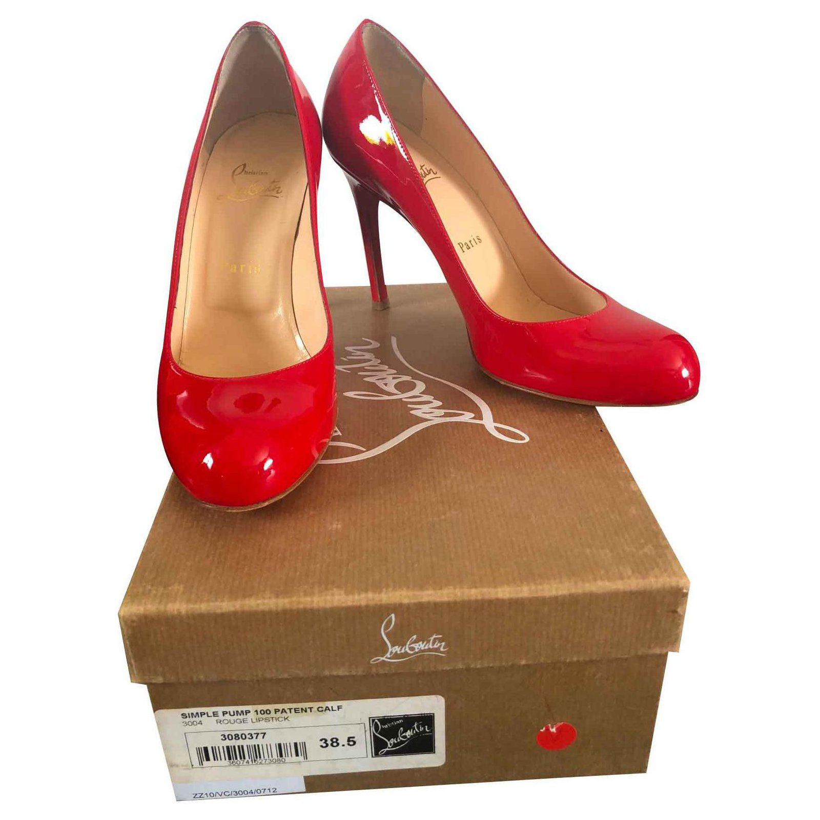 16f59cdce0c0 Christian Louboutin Simple Pump Heels Patent leather Red ref.123383 ...