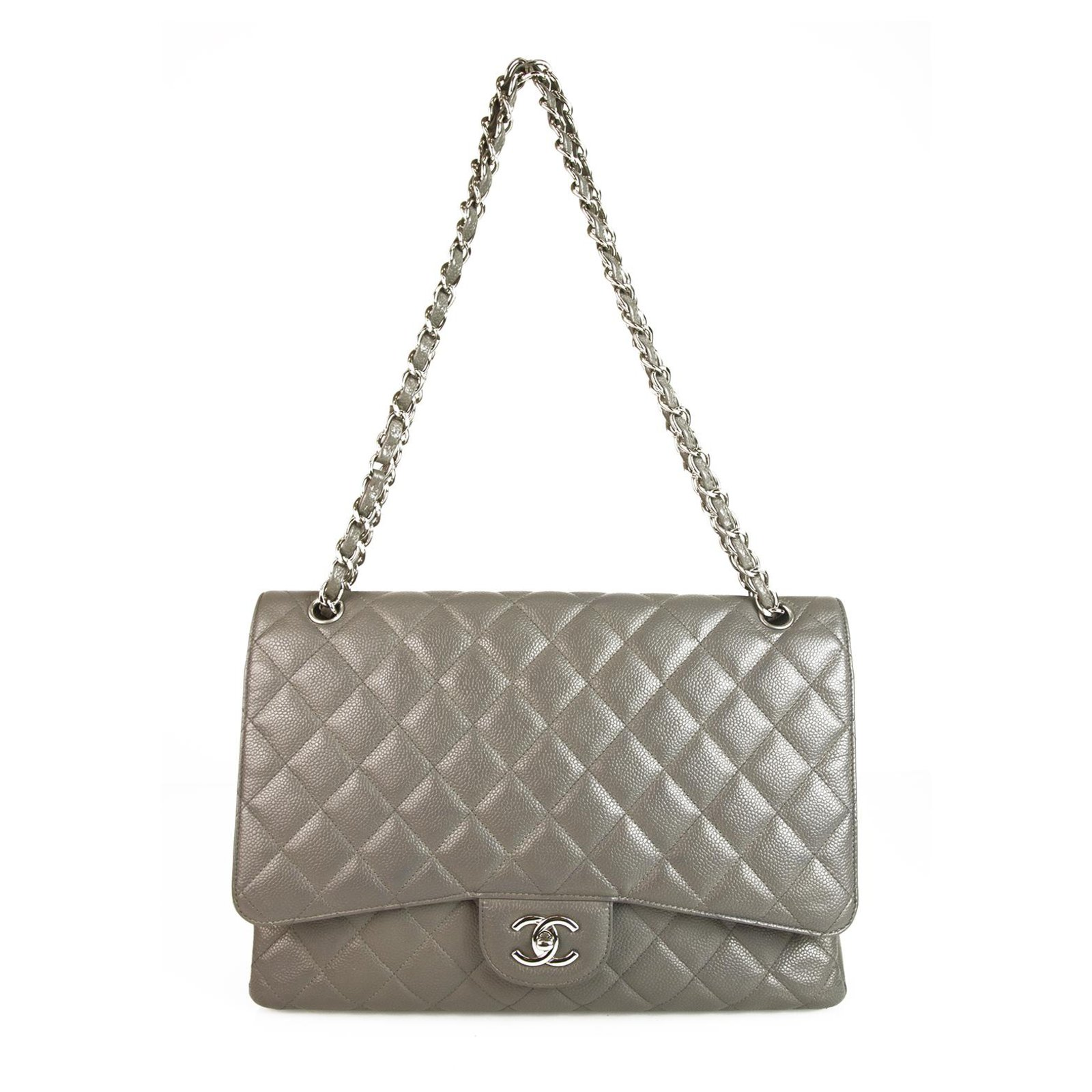 01067df7aaa8db Chanel CHANEL Grey Caviar Leather Maxi Classic Single Flap Bag Handbags  Leather Grey ref.123408