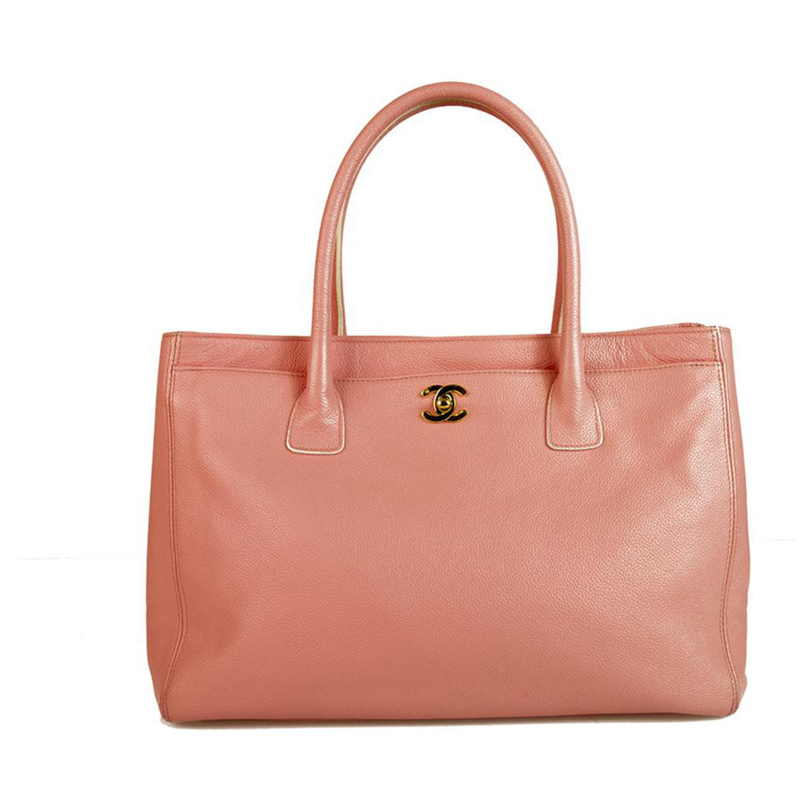 81c89fdaee9b Chanel CHANEL Dusty Pink Pebbled Leather Cerf Shopping Tote Bag Handbags Leather  Pink ref.123416