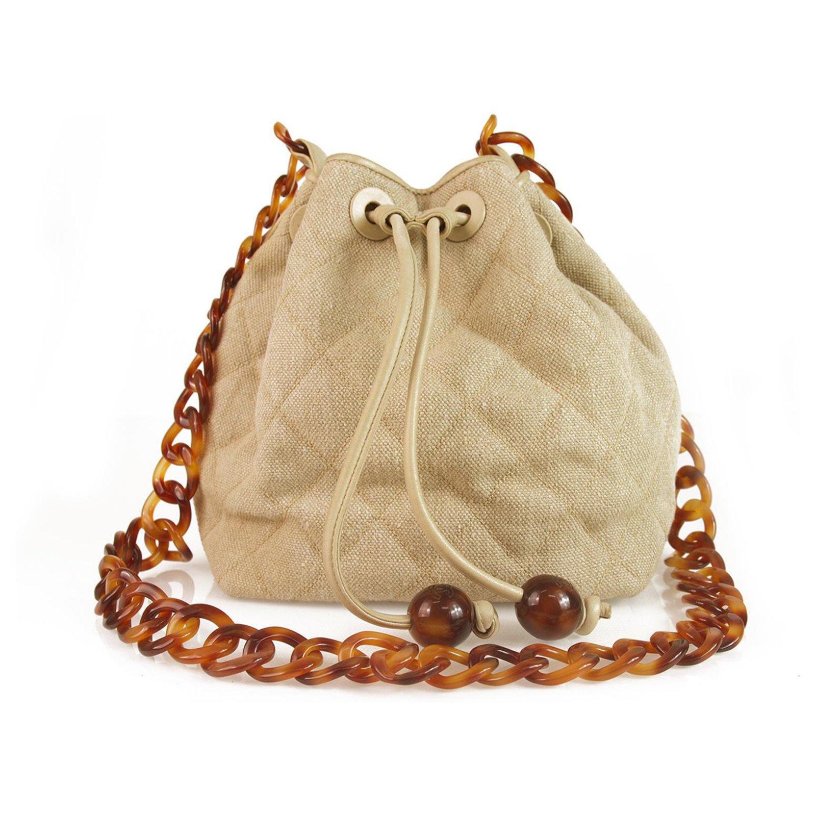 e64b66eece69 Chanel Vintage Beige Linen & Leather Drawstring Crossbody Bag w. Tortoise  chain