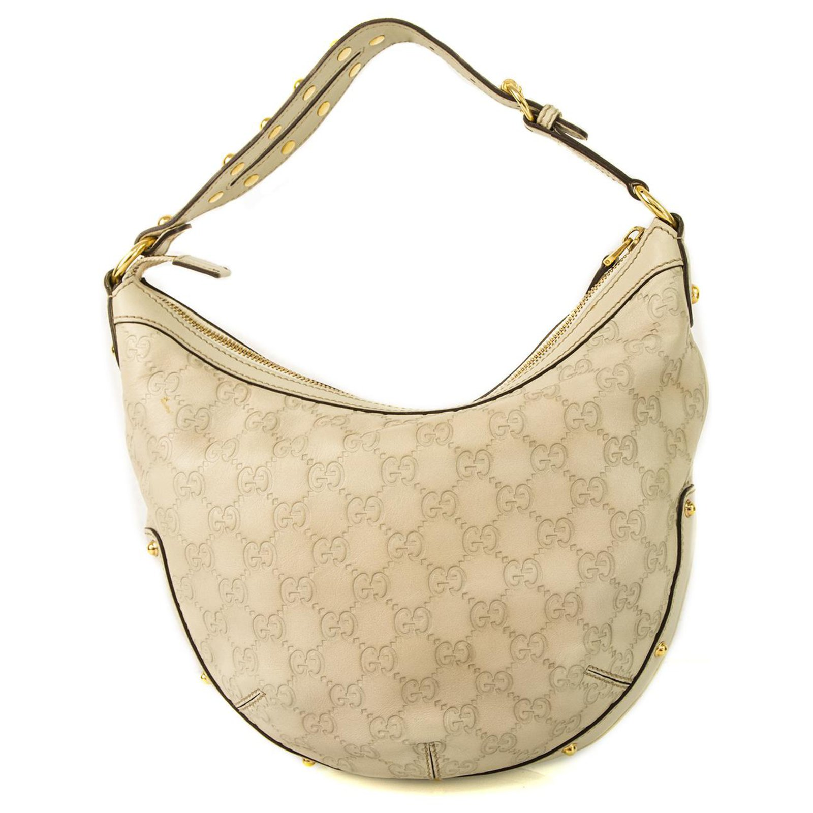 b939259a31cc Gucci Gucci Off White Guccissima Medium Shoulder Hobo HandBag Handbags  Leather White ref.123448