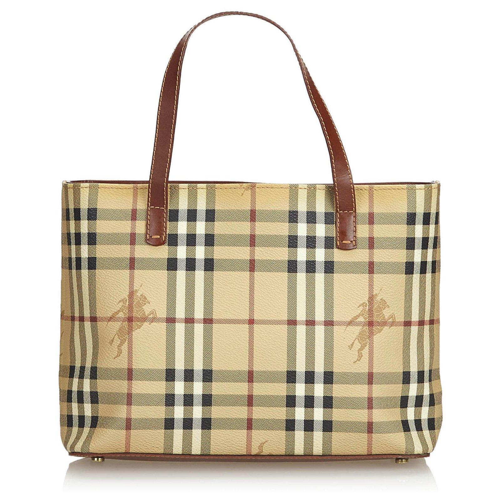 0e2f2e98f Burberry Burberry Brown Haymarket Check Coated Canvas Handbag Handbags  Leather,Other,Cloth,Cloth