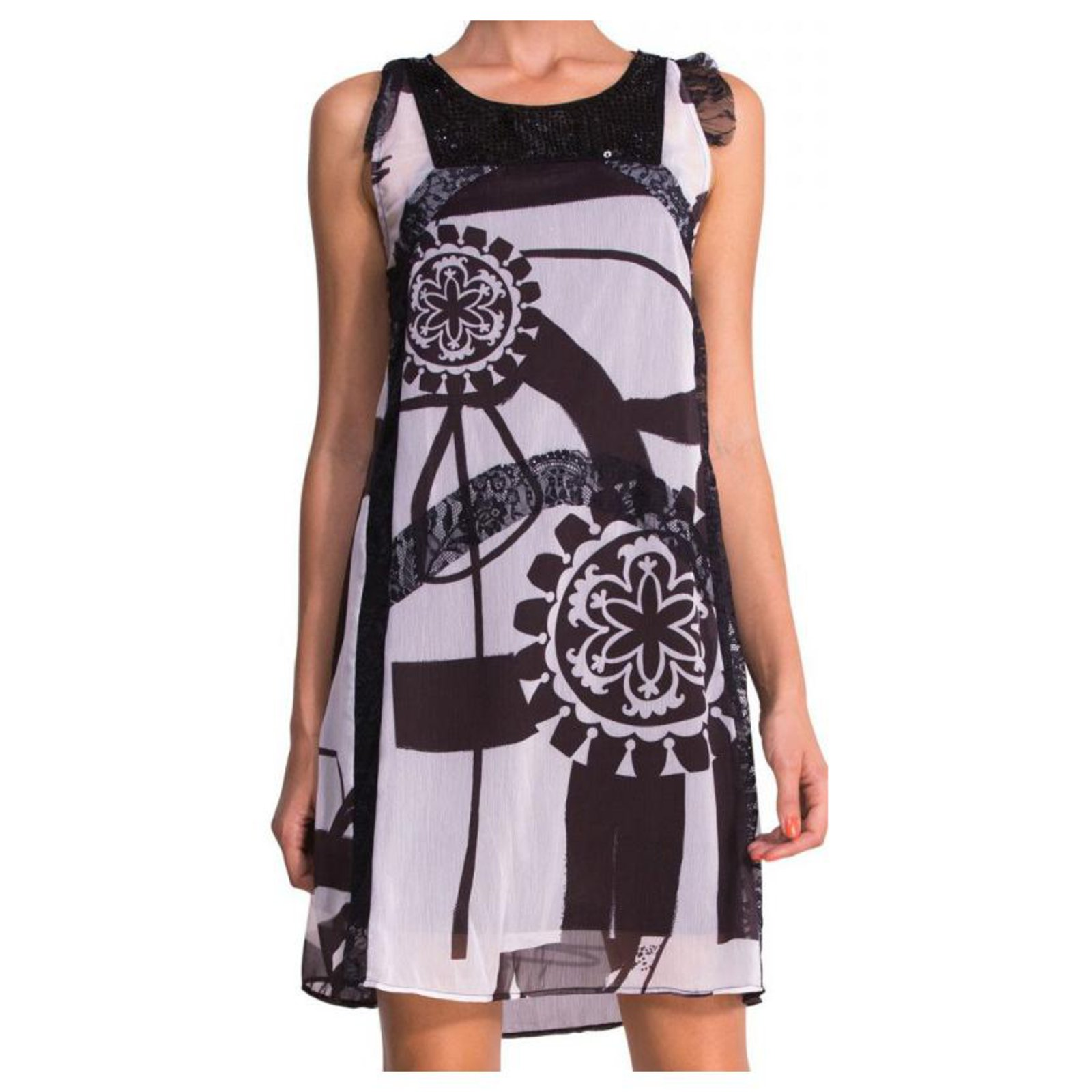 Robes Desigual Robes Polyester Noir Blanc Ref 123739 Joli Closet
