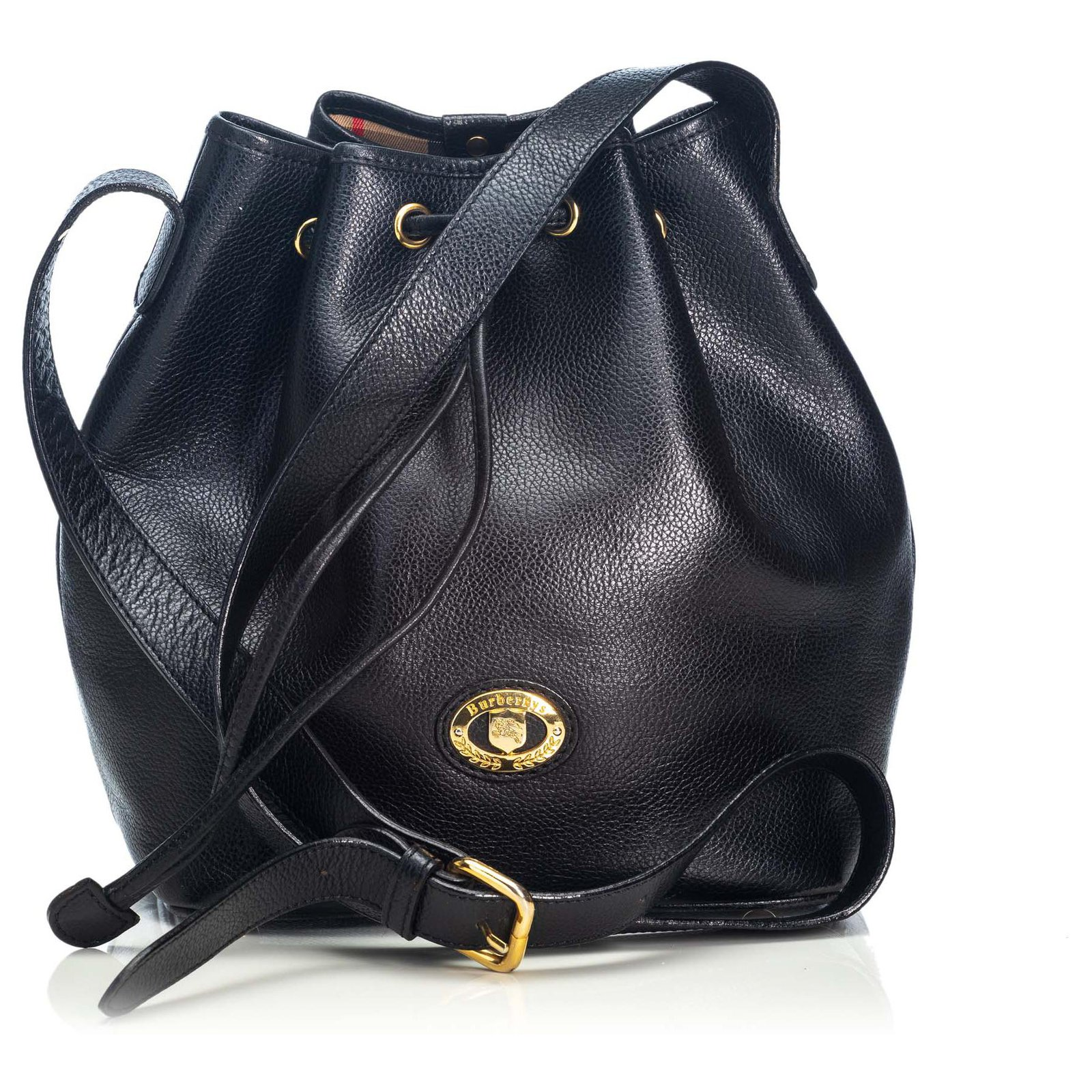 f2e8ab39a Burberry Burberry Black Leather Bucket Bag Handbags Leather,Other Black  ref.123957