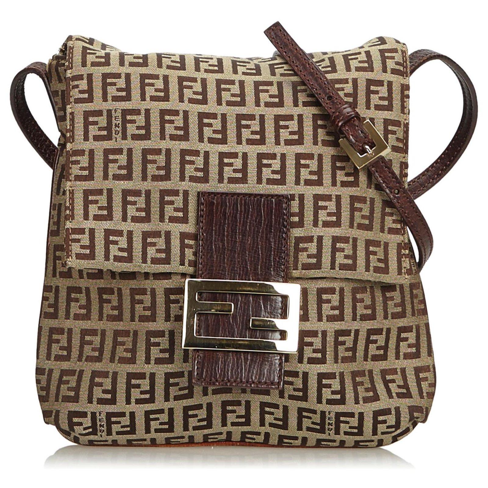 942291b57 Fendi Fendi Brown Zucchino Canvas Crossbody Bag Handbags  Leather,Other,Cloth,Cloth Brown
