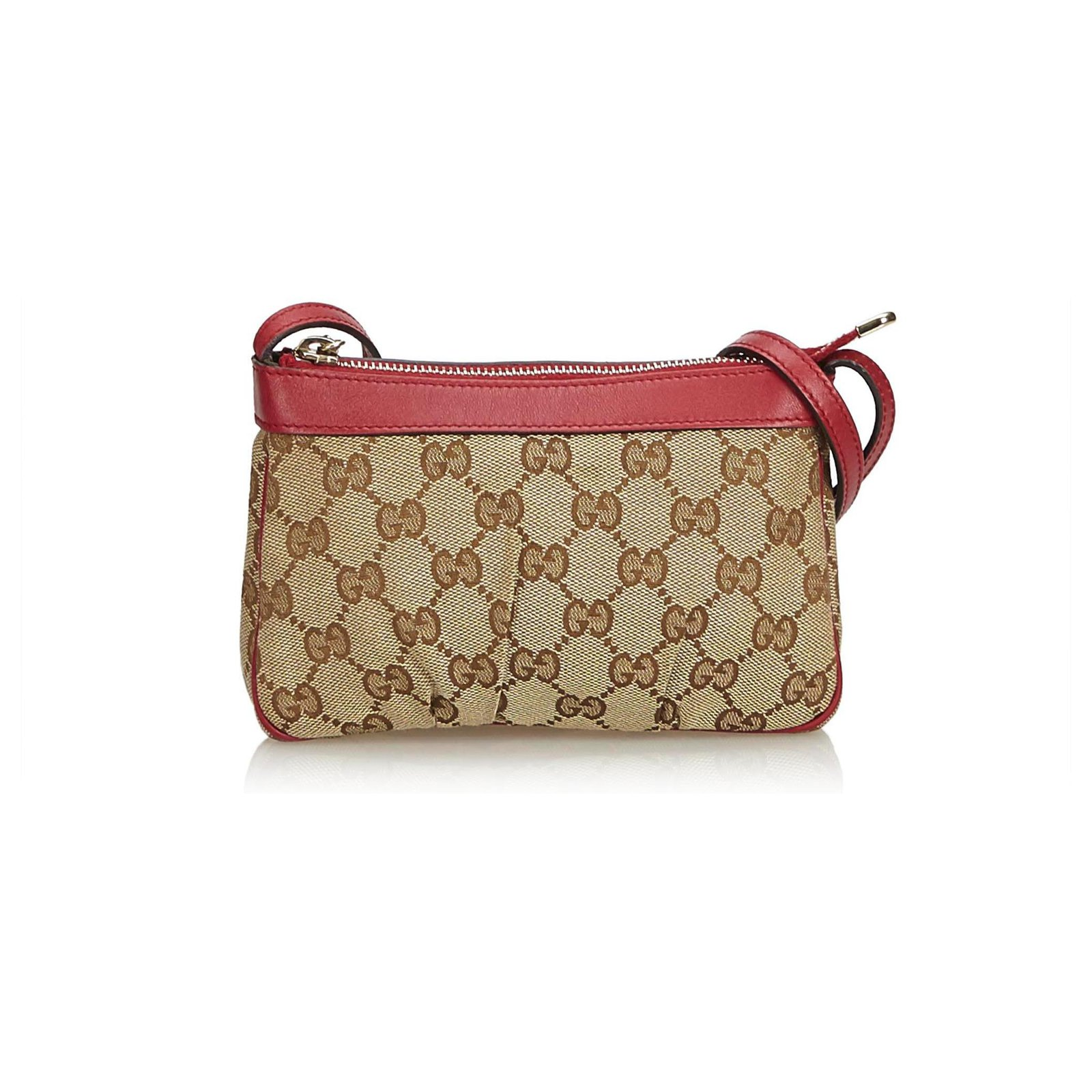 9dc94a474 Gucci Gucci Brown GG Jacquard Crossbody Bag Handbags Leather,Other,Cloth  Brown,Red