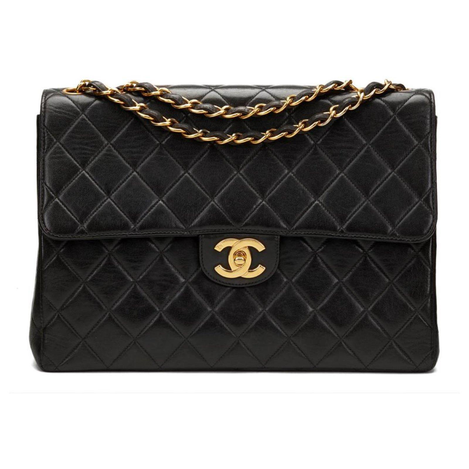 5467208ff2e5 Chanel Classic jumbo single flap Handbags Lambskin Black ref.124136 ...