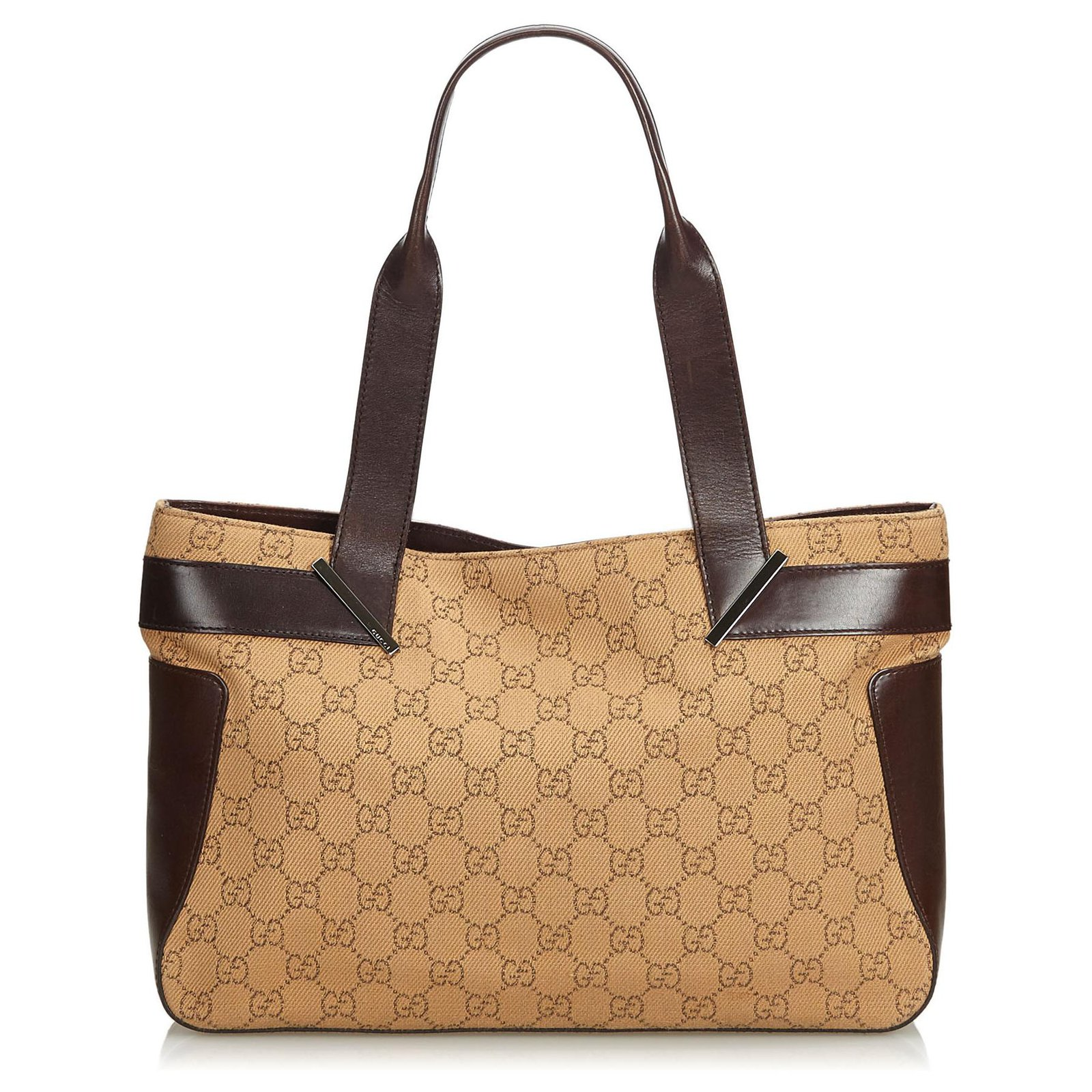 4a5c5a591282 Gucci Gucci Brown GG Jacquard Tote Bag Totes Leather,Other,Cloth Brown,Light