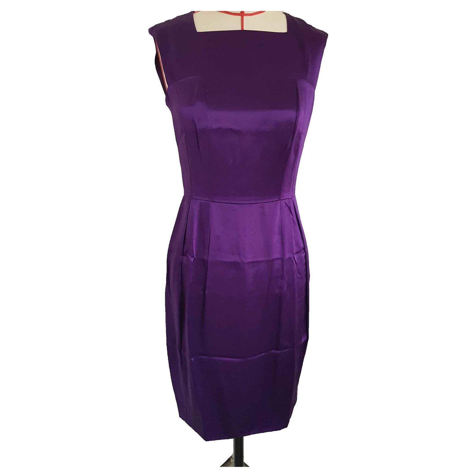 Robes Yves Saint Laurent Robe Yves Saint Laurent En Satin De Soie Soie Violet Ref 124921 Joli Closet
