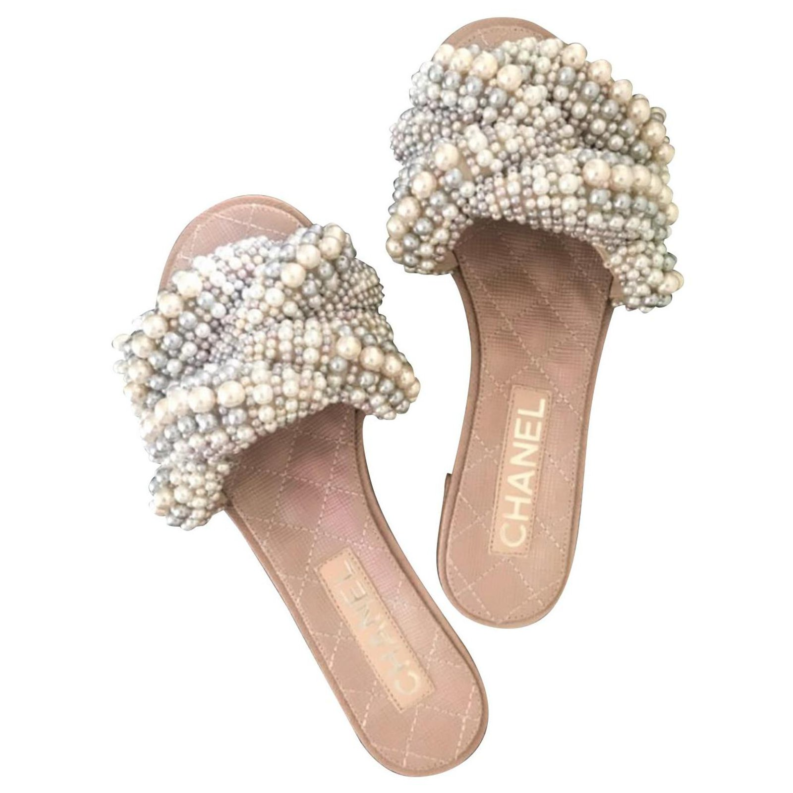 Chanel Chanel Pearl Slides Slippers Sandals Eu 35 5 Sandals Leather Beige Ref 125260 Joli Closet