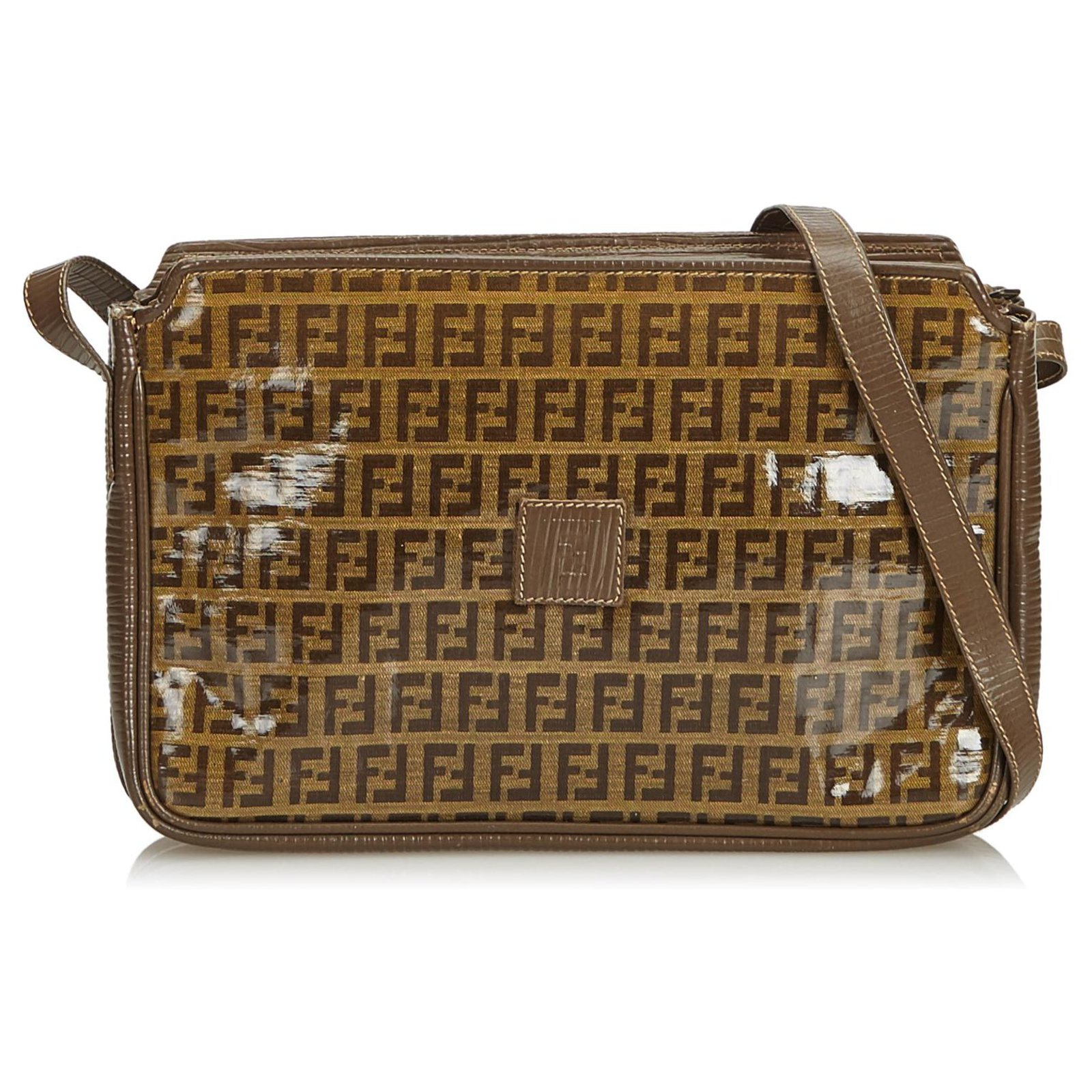9639716e72 Fendi Fendi Brown Zucchino Coated Canvas Crossbody Bag Handbags Leather ,Other,Cloth,Cloth