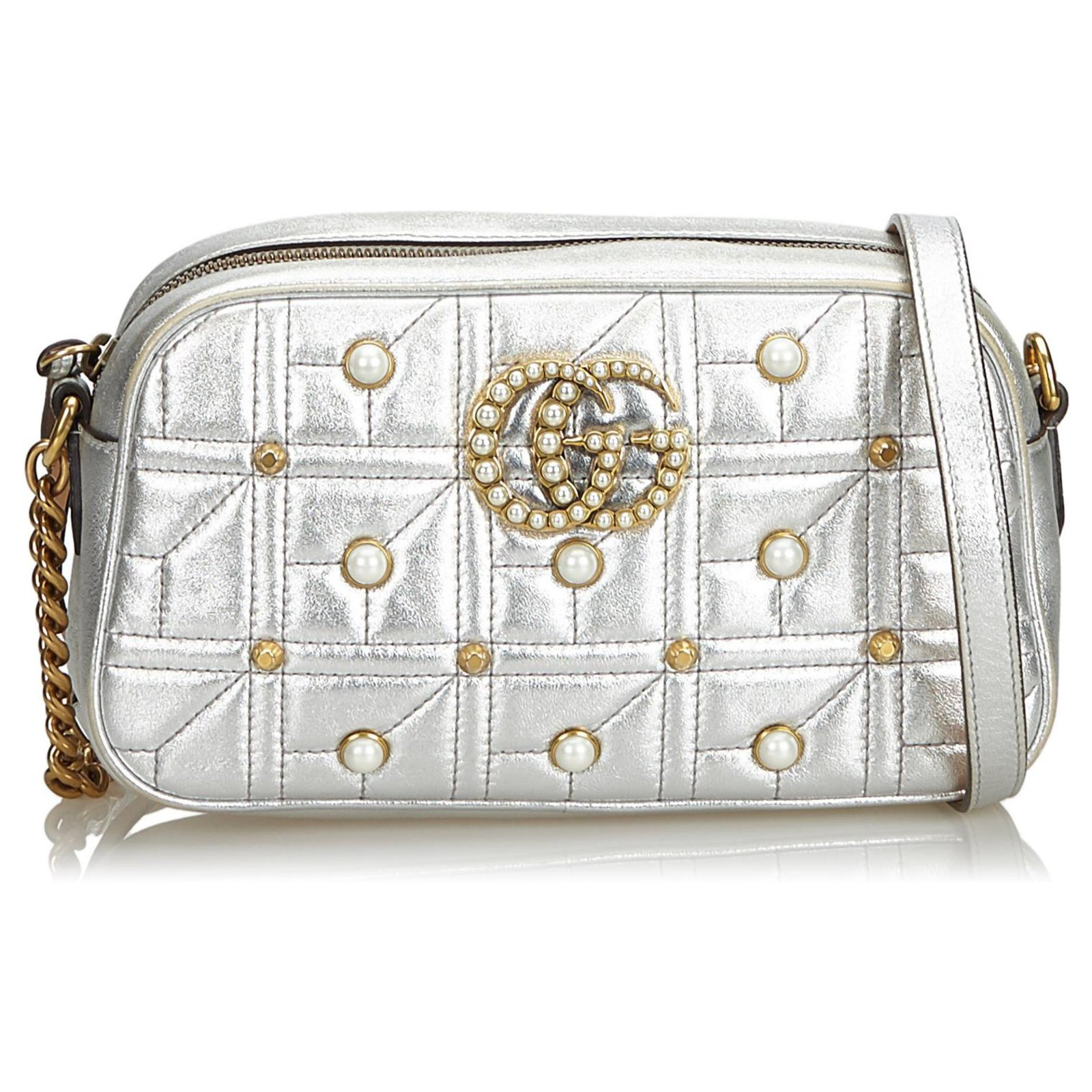 eb24c8b62103 Gucci Gucci Silver GG Pearl Studded Leather Marmont Crossbody Bag Handbags  Leather,Other Silvery,