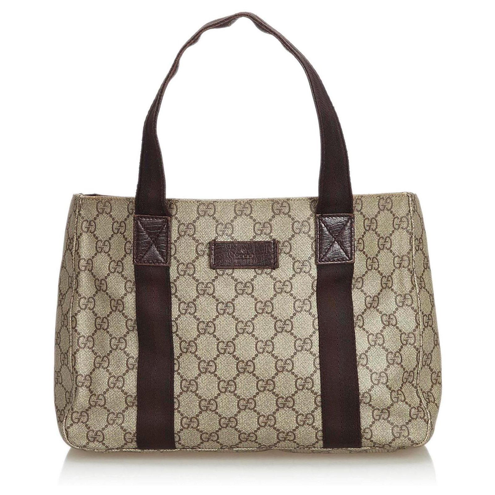 3683fe44ea2b Gucci Gucci Brown GG Supreme Coated Canvas Tote Bag Totes Leather,Other, Cloth,
