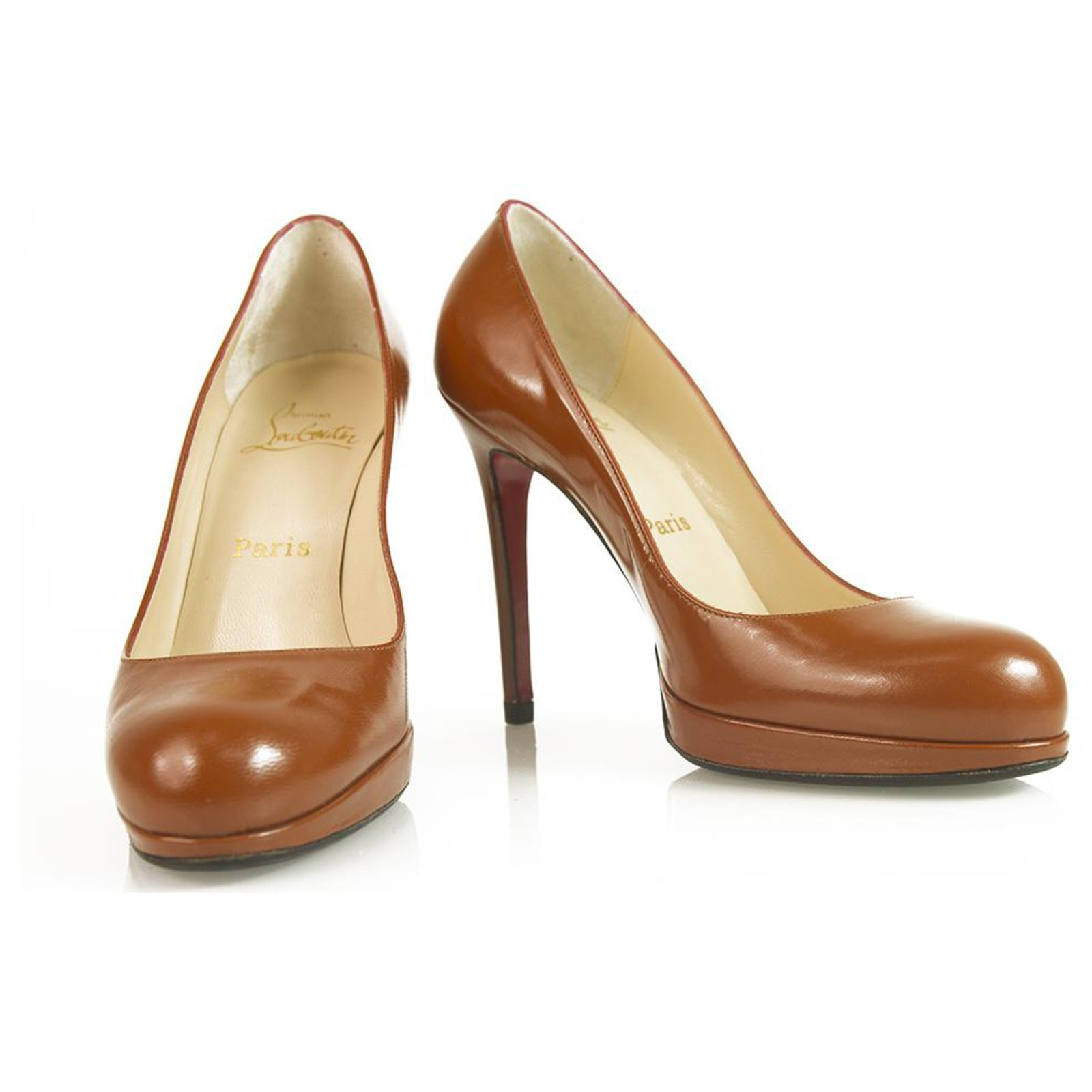 reputable site 3e48a a838c Christian Louboutin Classic Brown leather round toe platform pumps sz 37