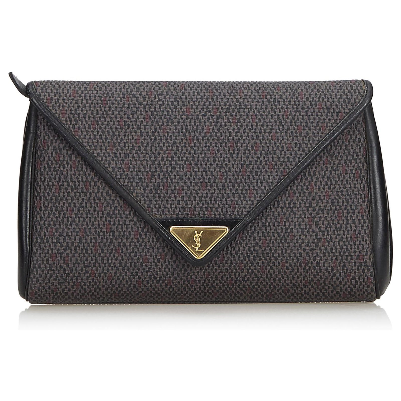 59bb78507a YSL Gray Woven Flap Clutch Bag