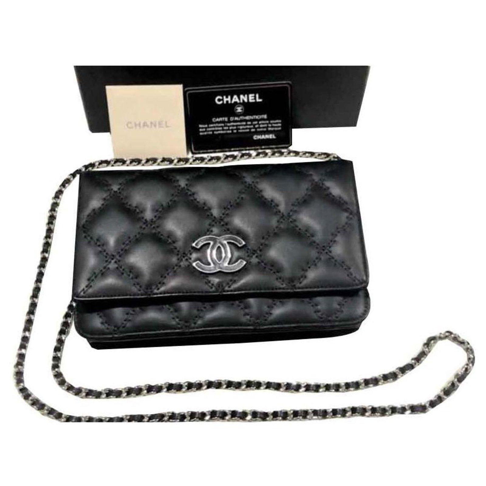 3fe08fc9bf4d10 Chanel Chanel Black Wallet on Chain Handbags Leather Black ref.126852