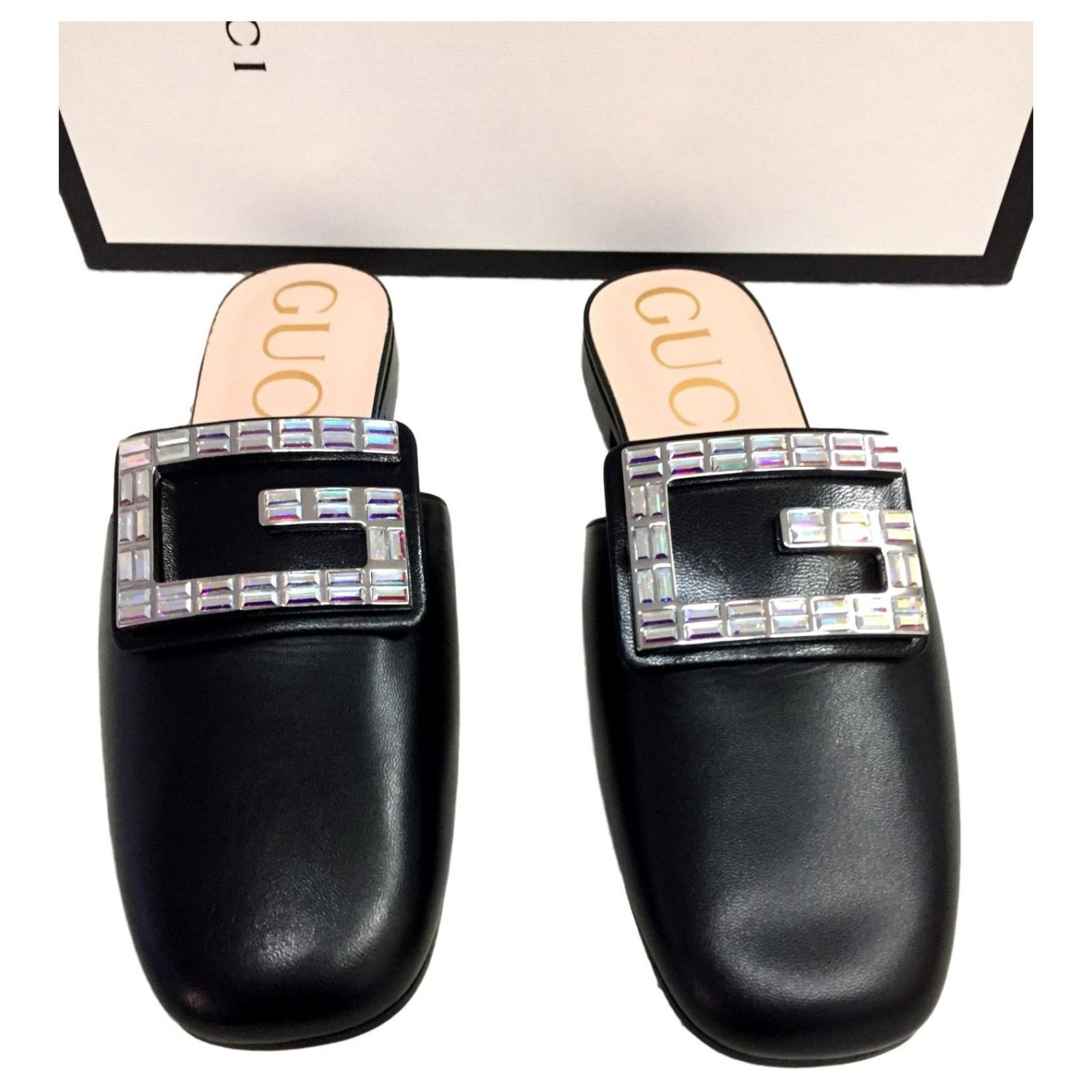 Gucci Gucci Slippers Crystal G Shoes Mules Leather Black Ref 127017 Joli Closet