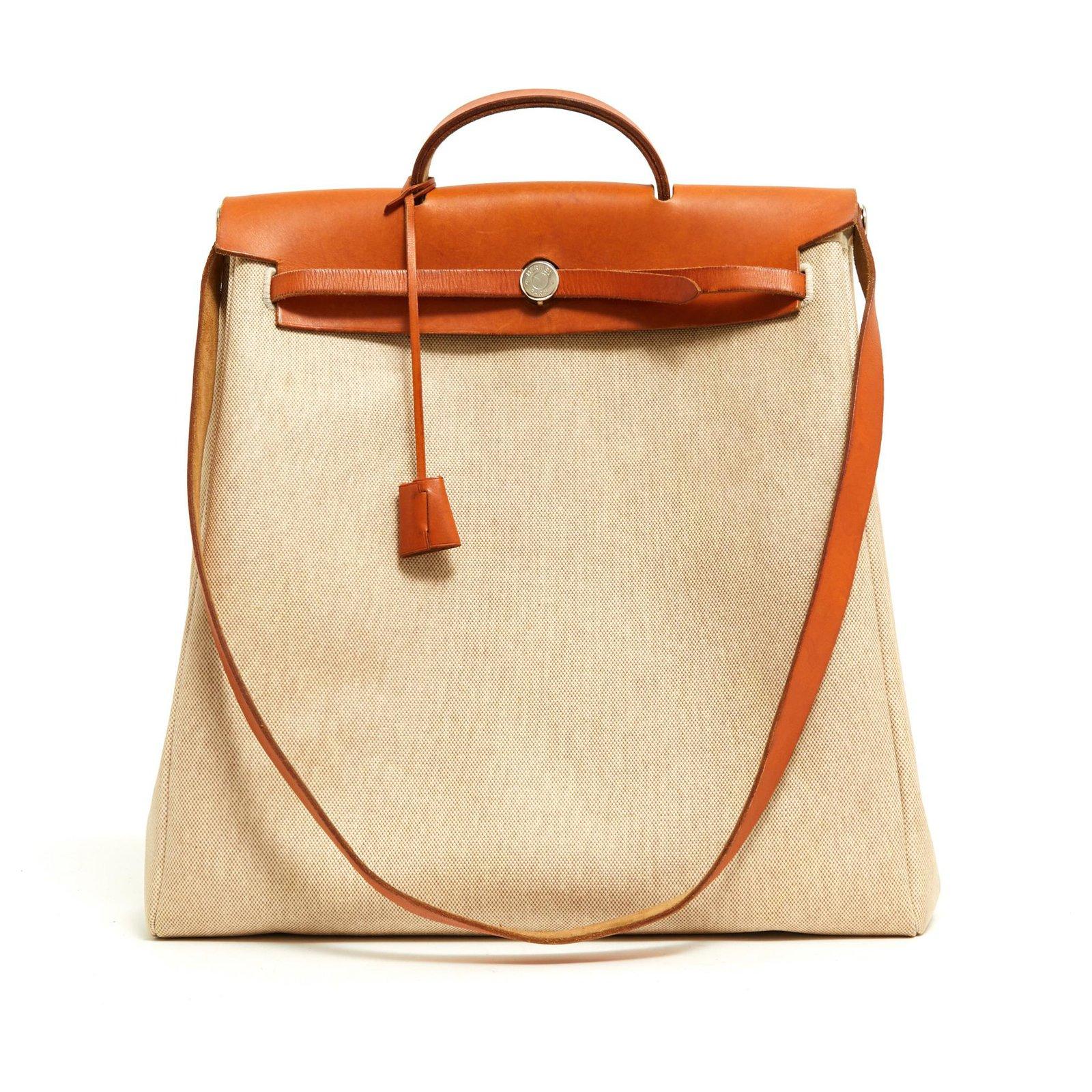 aa7eb1a6d Hermès HERBAG sizeM + MM NATURAL Handbags Leather,Cloth,Metal Beige,Caramel  ref