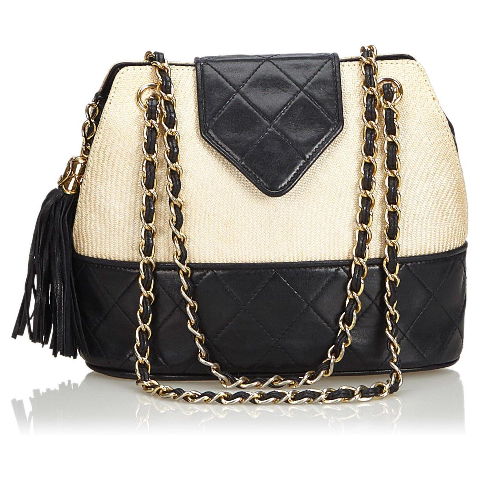 880acf389f8a Chanel Chanel White Woven Raffia Chain Shoulder Bag Handbags Leather,Other  Black,White,