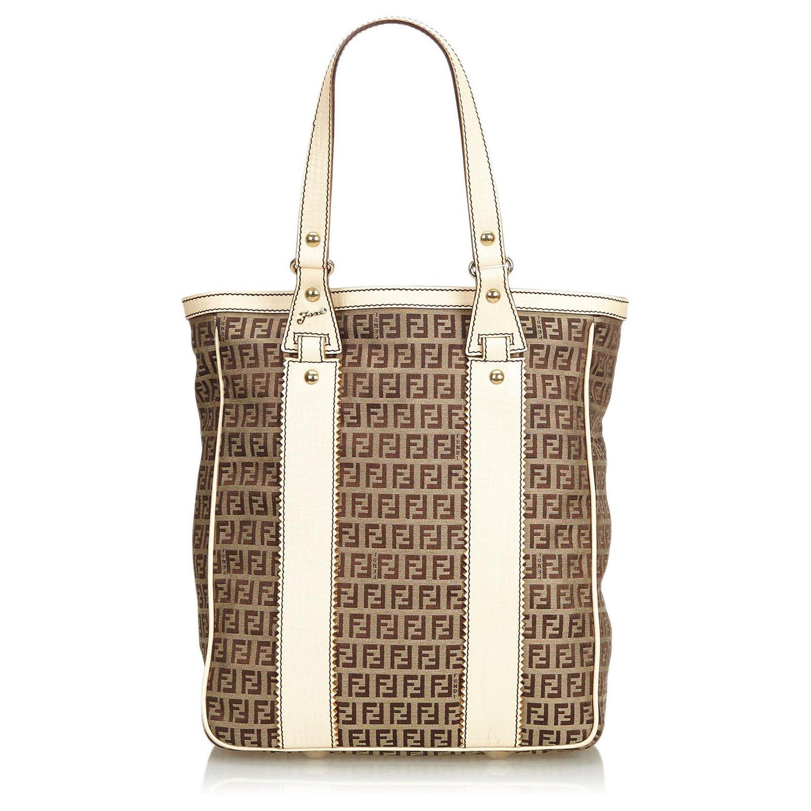 2548c896ff156 Fendi Fendi Brown Zucchino Jacquard Tote Bag Totes Leather