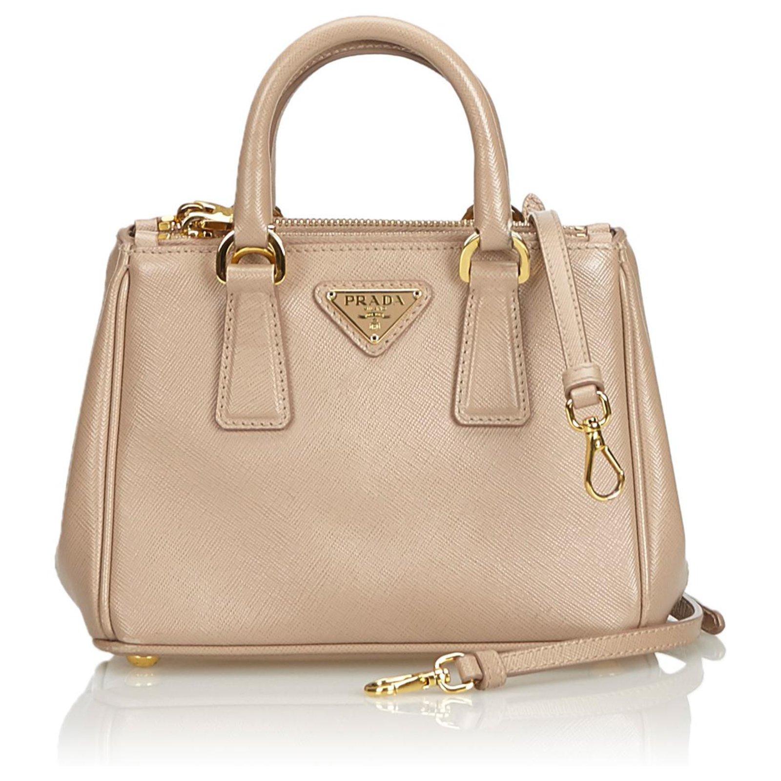 3b9b32cb64e4 Prada Prada Brown Saffiano Galleria Satchel Handbags Leather,Other Brown  ref.128036