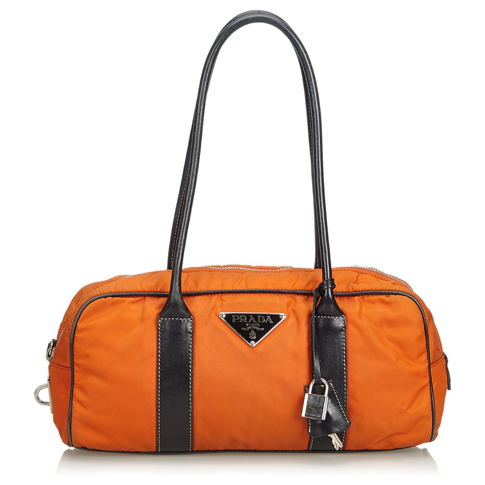 5f0942a2ed82 Prada Prada Orange Nylon Shoulder Bag Handbags Leather,Other,Nylon,Cloth  Black,